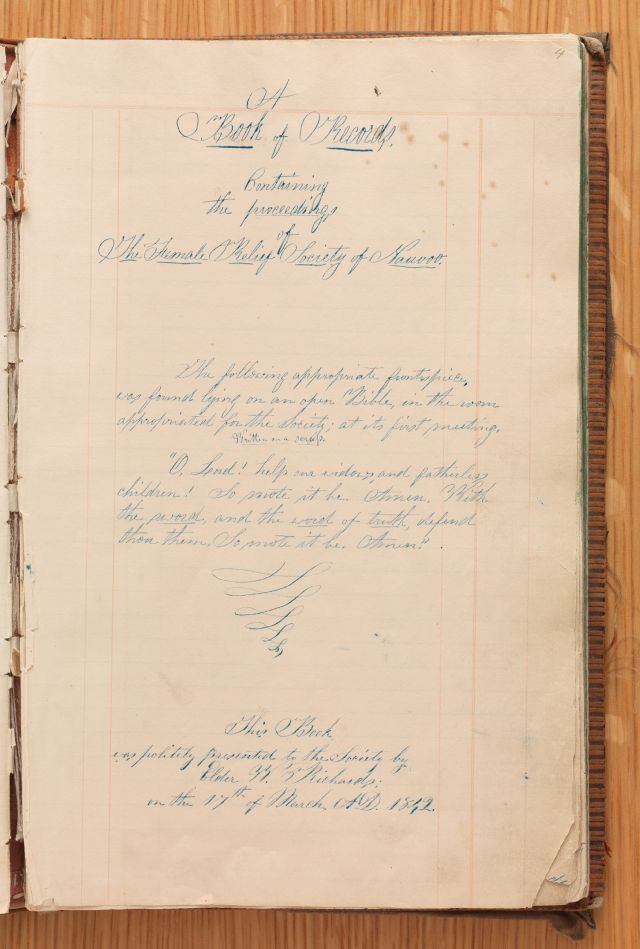 Title Page of Nauvoo Relief Society Minute Book