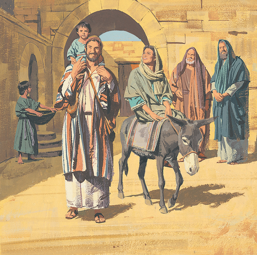 Joseph, Mary, and Jesus traveling