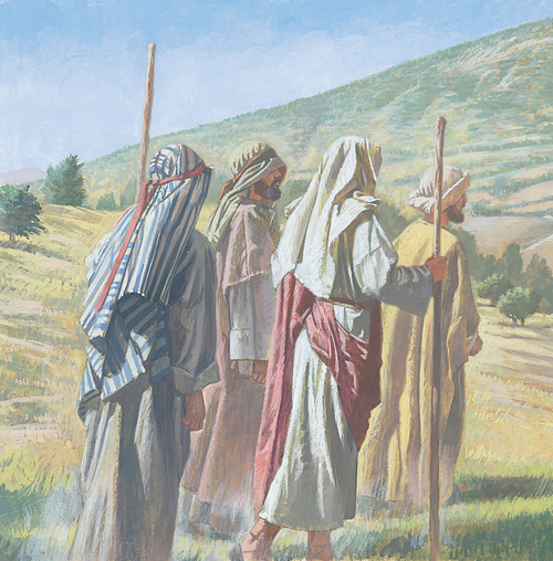 Jesus, Peter, James, and John walking