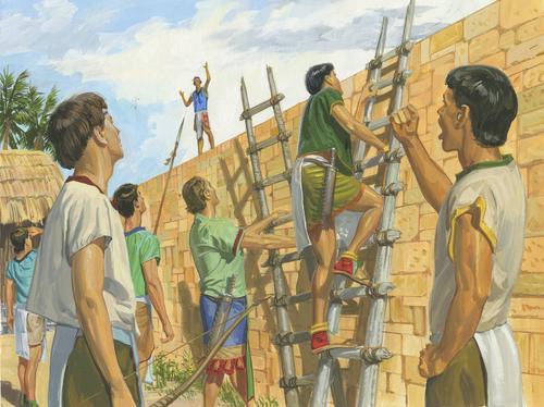 men climbing ladders