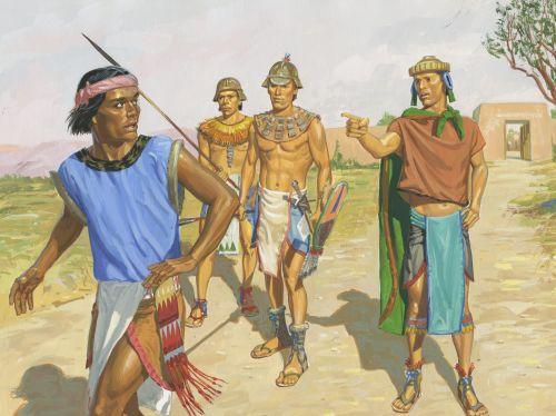 Samuel running from Nephite guards