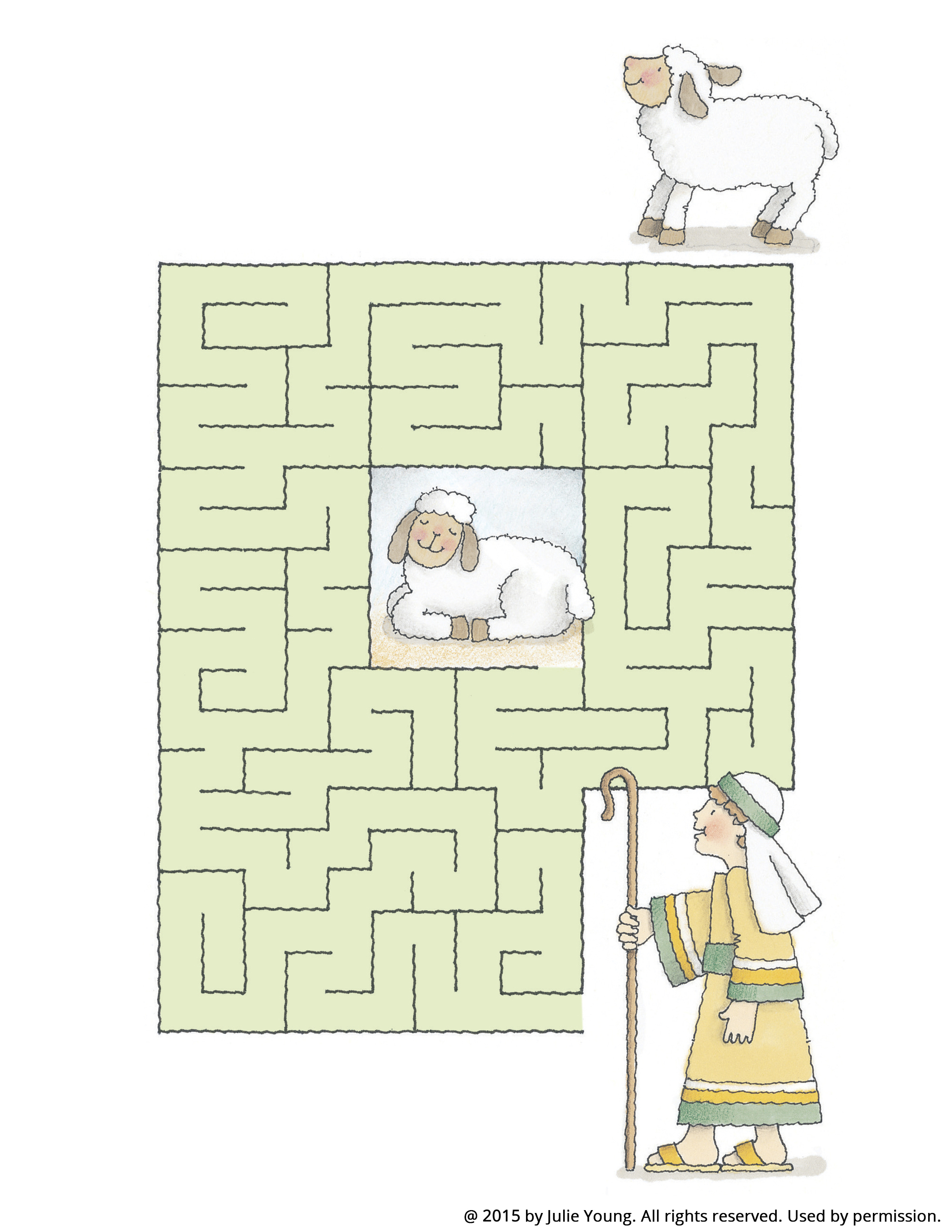 A maze starting with a shepherd boy and leading to a white sheep.