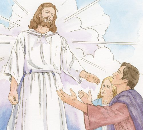 man and wife reaching out to Jesus