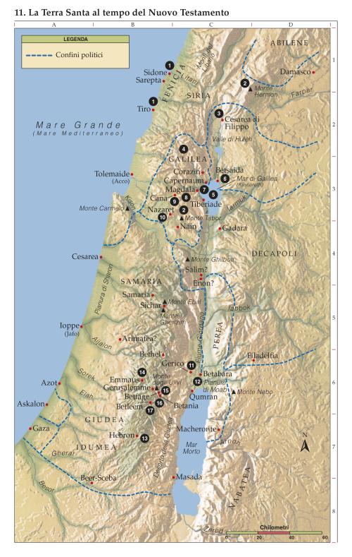 Cartina Fisica Palestina.11 La Terra Santa Al Tempo Del Nuovo Testamento