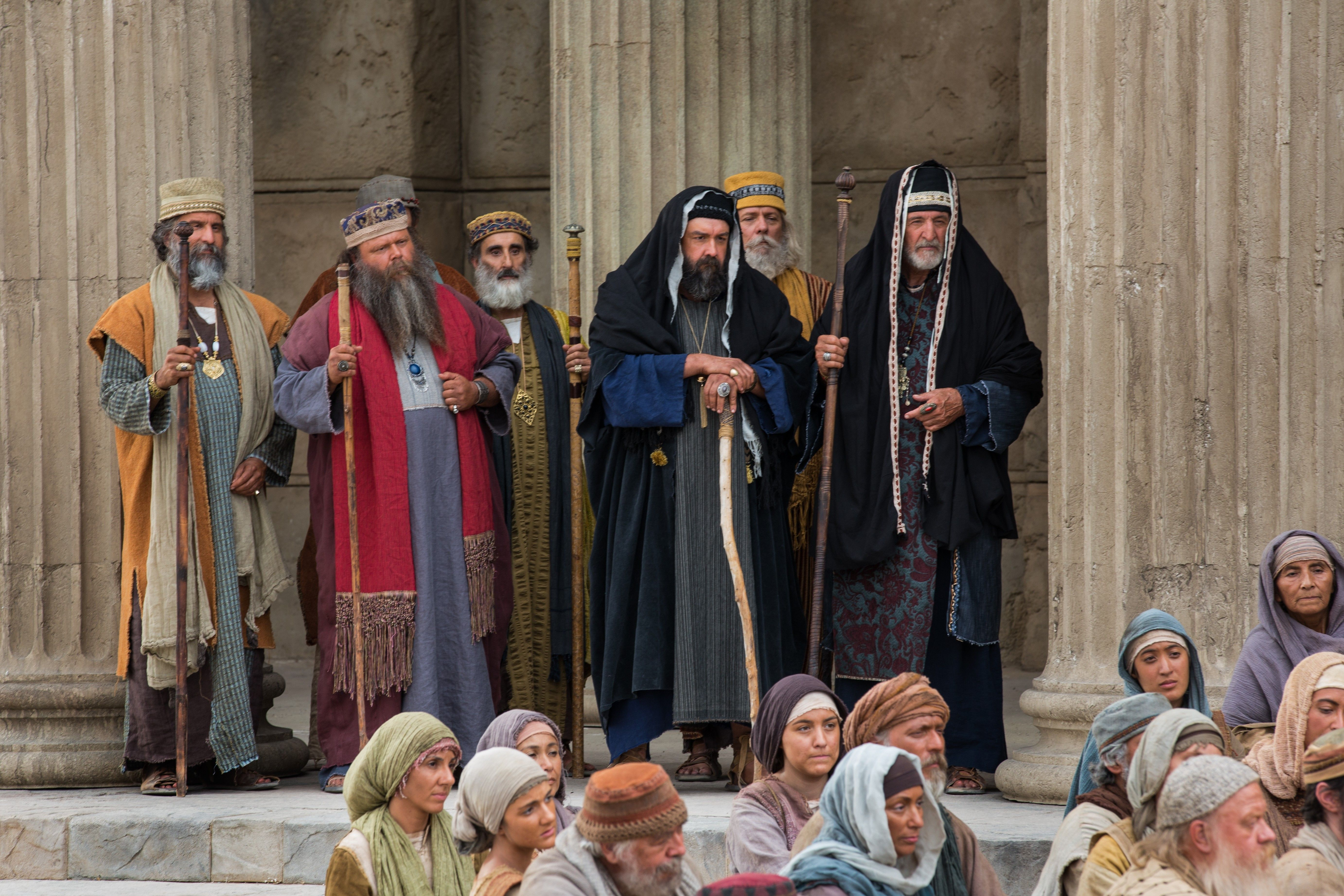 The Sadducees and Pharisees listening to Christ tell the people that He is the Good Shepherd.