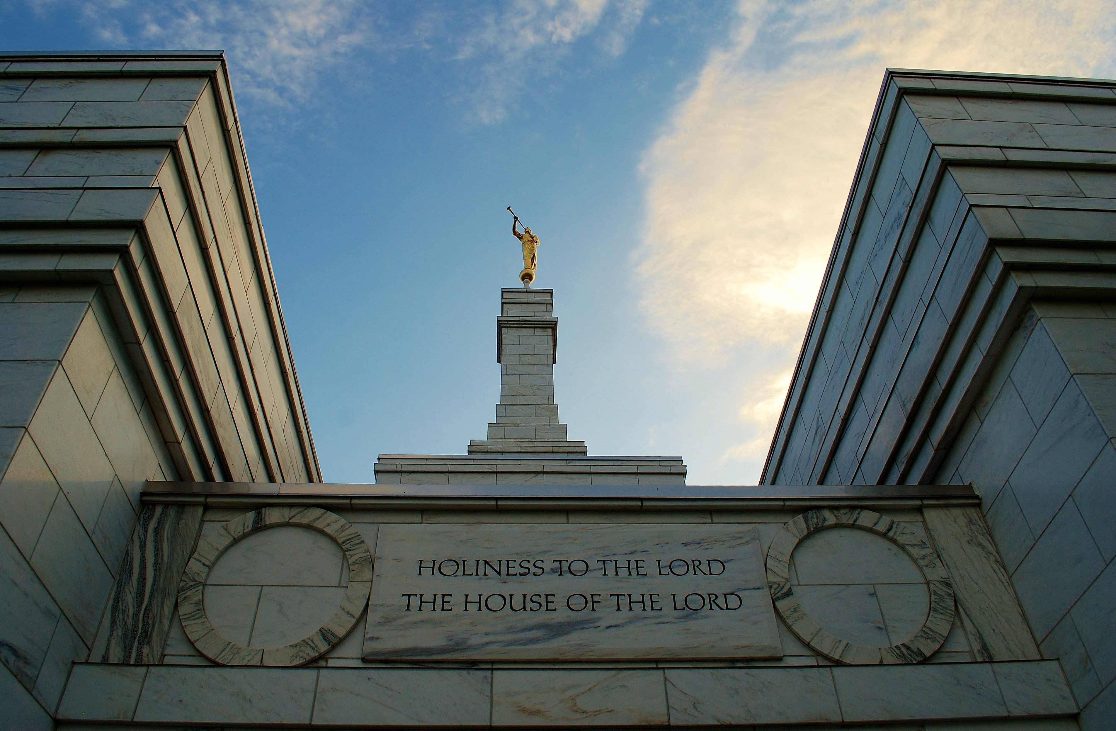 "The Columbus Ohio Temple has the inscription ""Holiness to the Lord: The House of the Lord."""