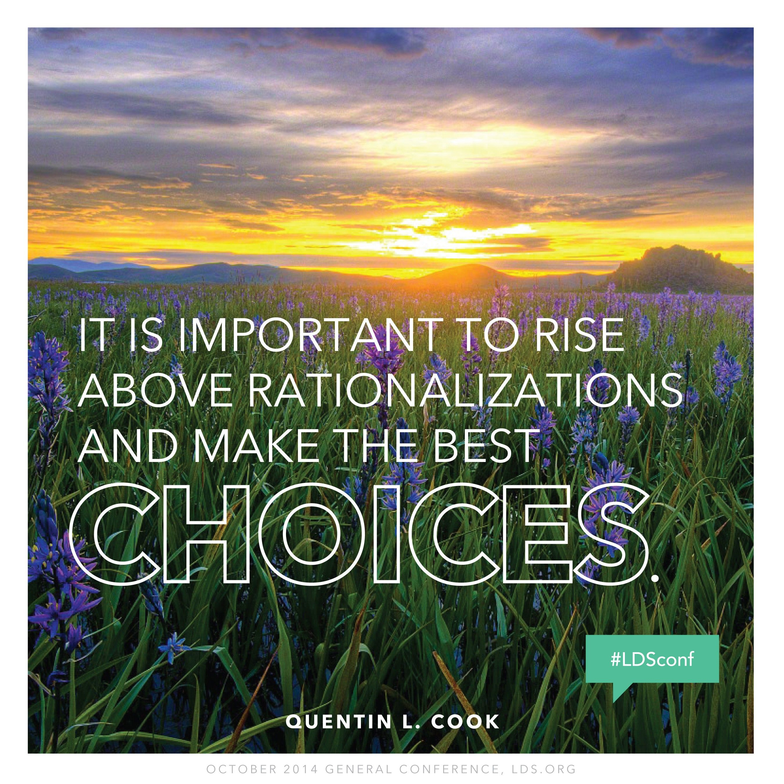 """""""It is important to rise above rationalizations and make the best choices.""""—Elder Quentin L. Cook, """"Choose Wisely"""""""