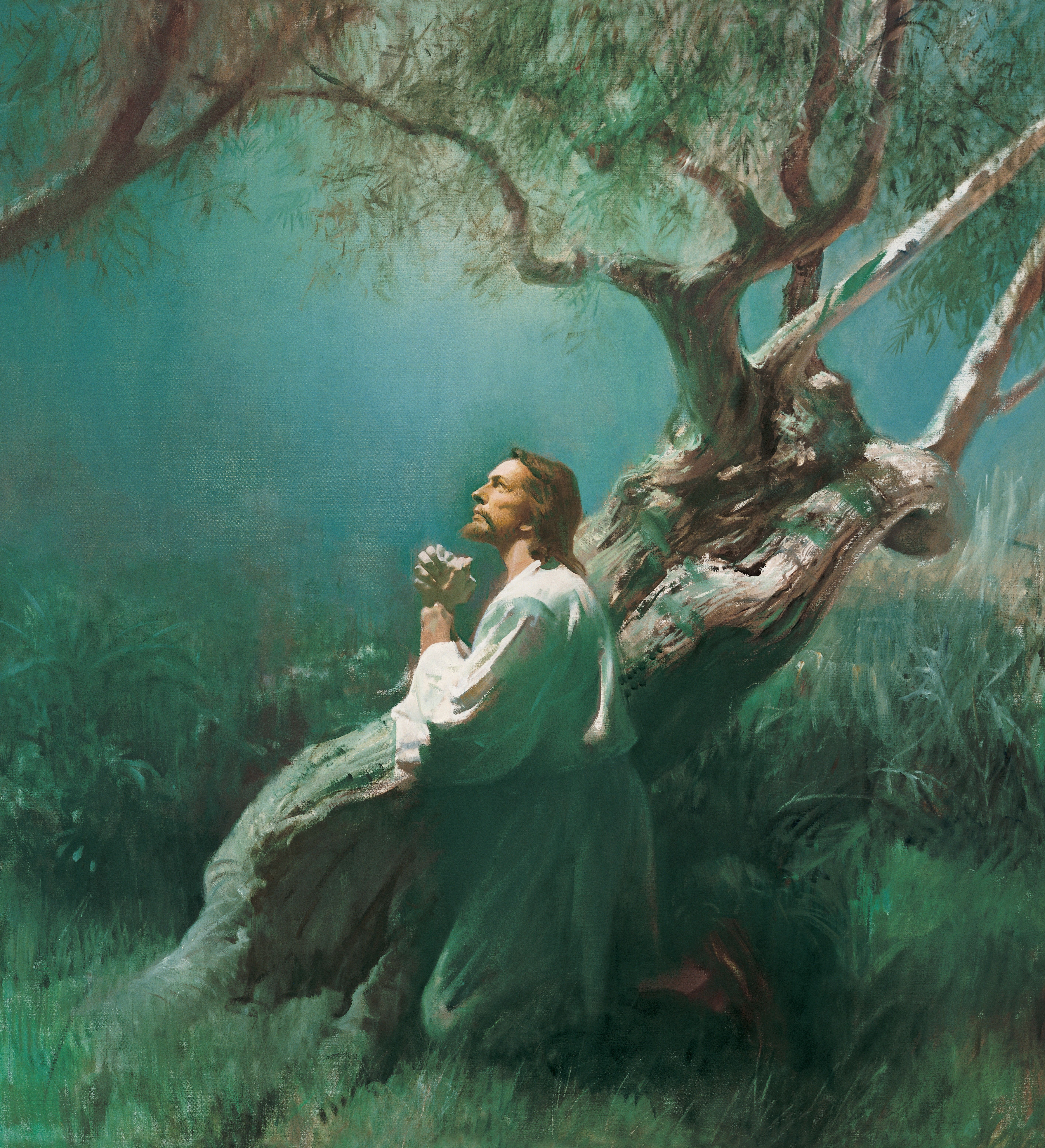 Jesus Praying in Gethsemane (Christ in Gethsemane), by Harry Anderson (62175); GAB 56; GAK 227; Primary manual 1-72; Primary manual 2-52; Primary manual 3-46; Primary manual 6-47; Primary manual 7-30; Matthew 26:36–45; Luke 22:39–46; Alma 7:11–13