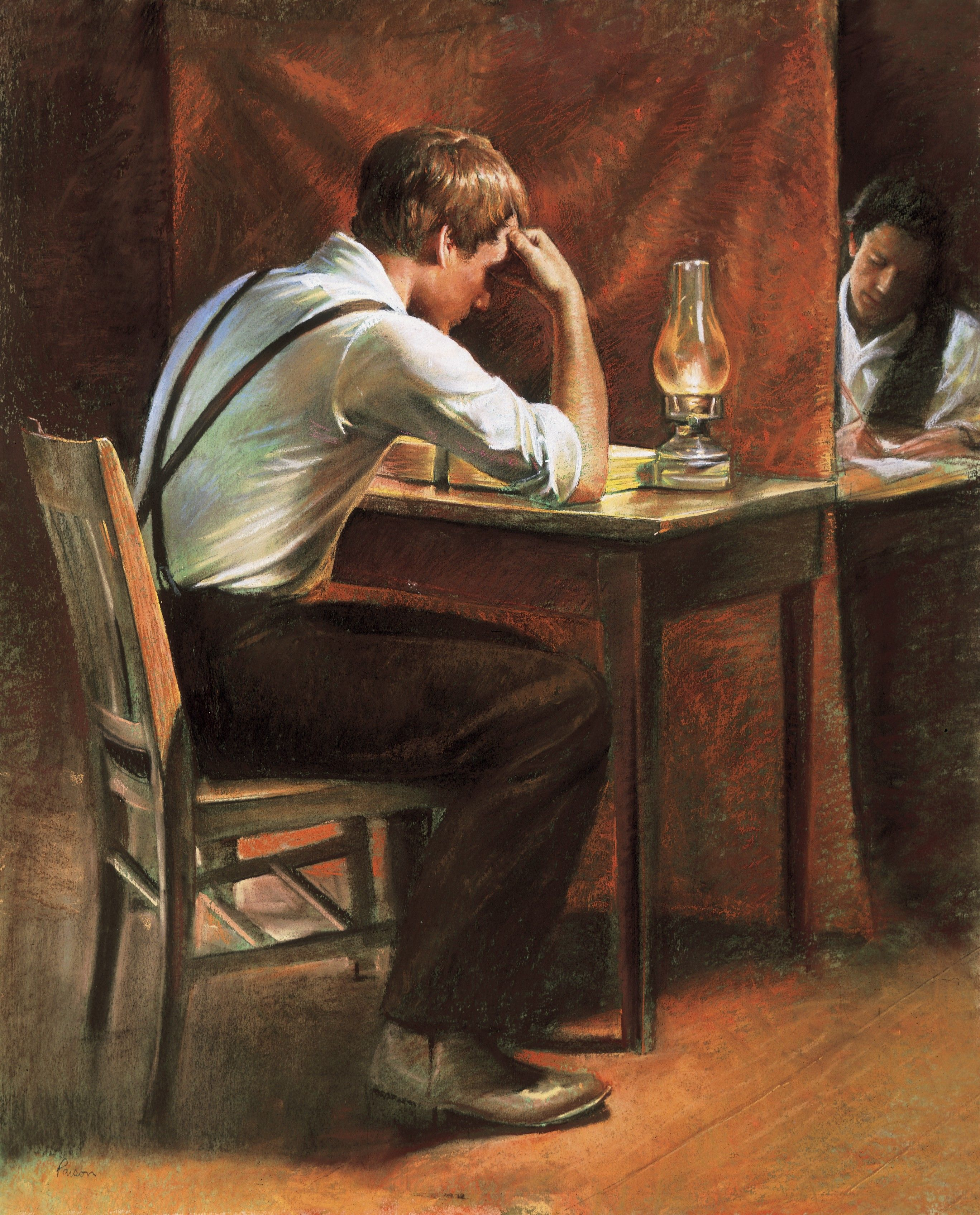 Joseph Smith Translating (Joseph Smith Translating the Gold Plates), by Del Parson; Primary manual 5-14