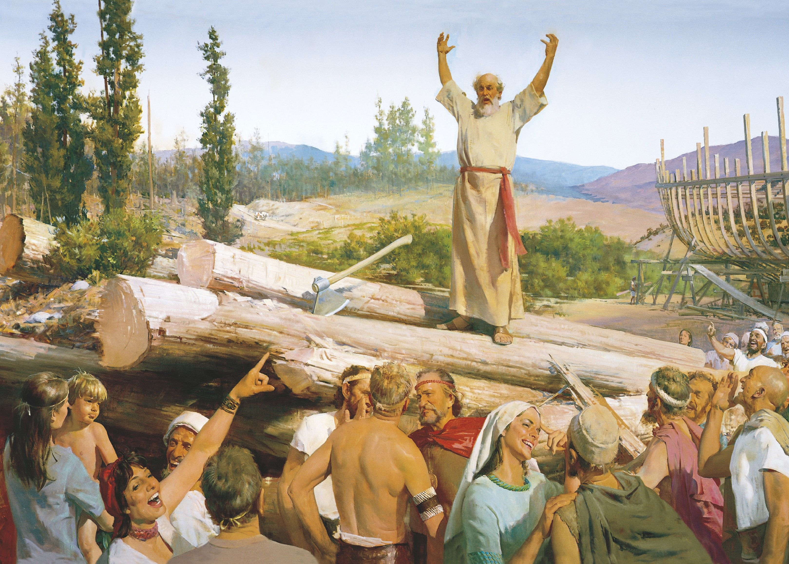 Building the Ark (Noah's Preaching Scorned), by Harry Anderson (62053); GAK 102; GAB 7; Primary manual 1-29; Primary manual 2-72; Primary manual 6-07; Genesis 6–7; Moses 8