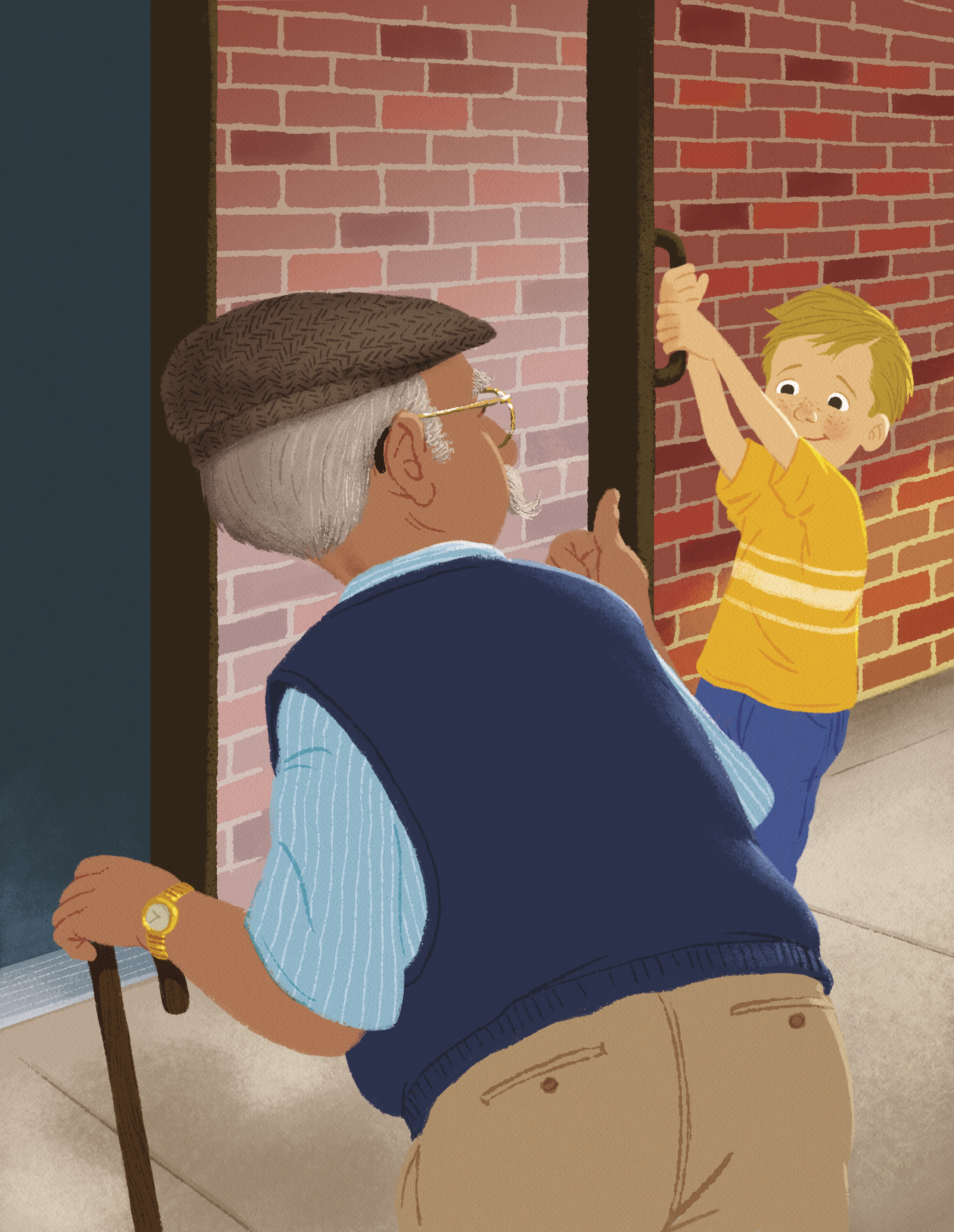 A little boy holds open a door for an elderly man, who is walking with a cane.