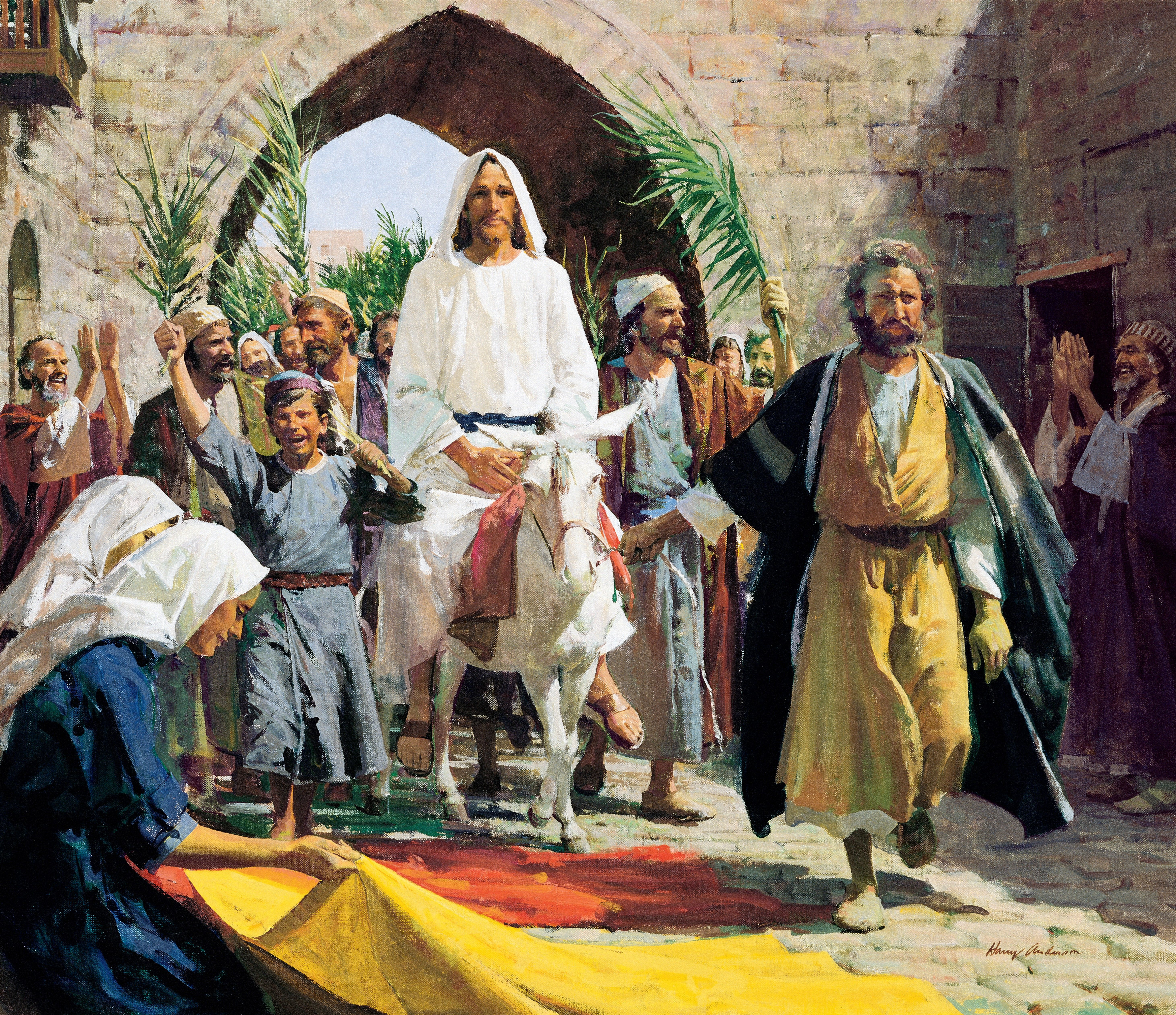 Triumphal Entry (Christ's Triumphal Entry into Jerusalem), by Harry Anderson (62173); GAK 223; GAB 50; Primary manual 7-28; Zechariah 9:9; Matthew 21:1–11; Mark 11:1–11; Luke 19:29–38