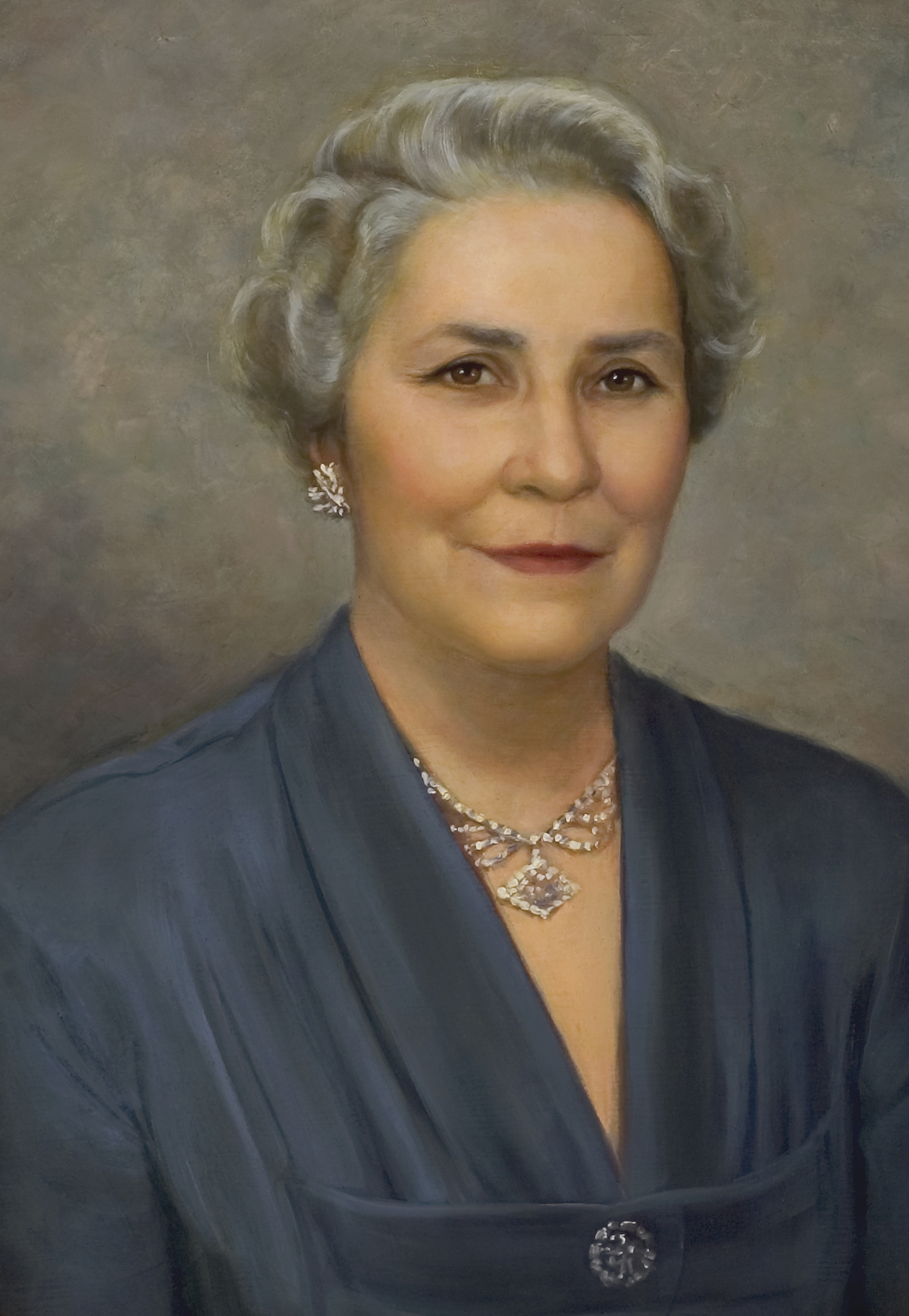 A portrait of Bertha Stone Reeder, who was the fifth general president of the Young Women from 1948 to 1961; painted by Dean Fausett.
