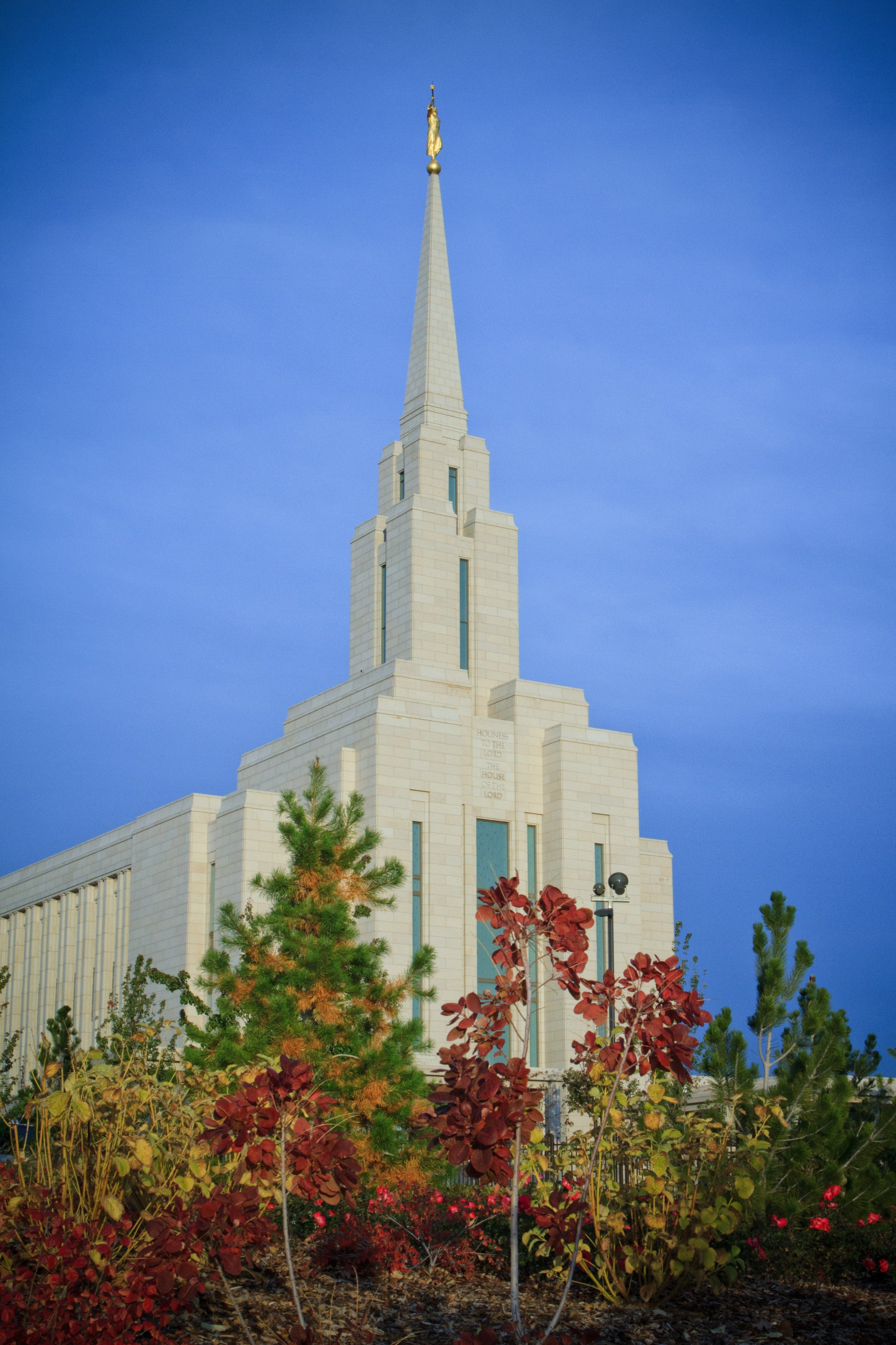 The Oquirrh Mountain Utah Temple in the fall, including scenery.
