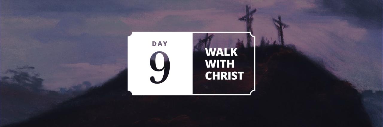 Jesus Christ between two thieves hangs on the cross