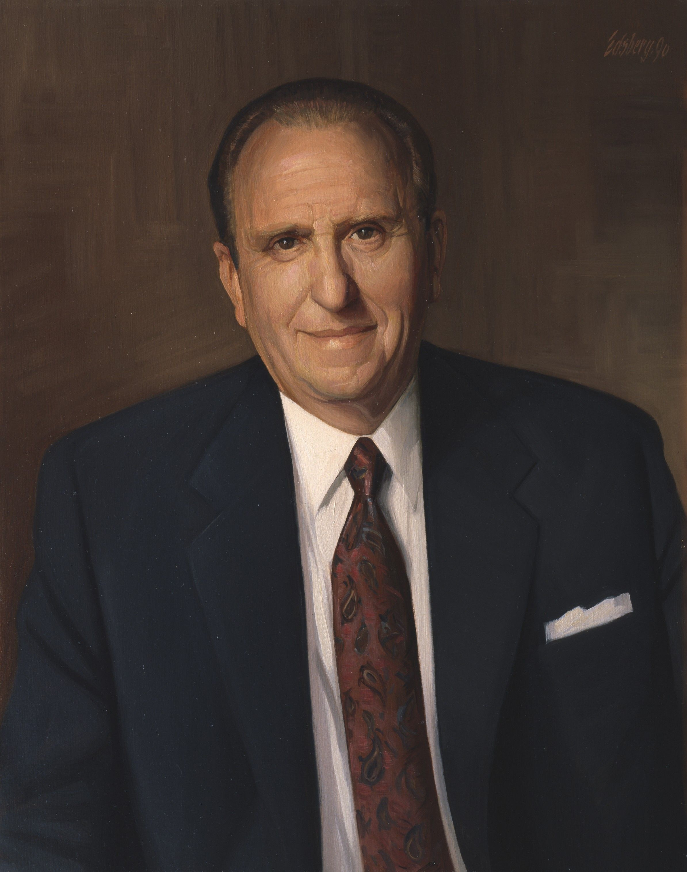 A portrait of Thomas S. Monson, who who was the 16th President of the Church from 2008 to 2018; painted by Knud Edsberg.