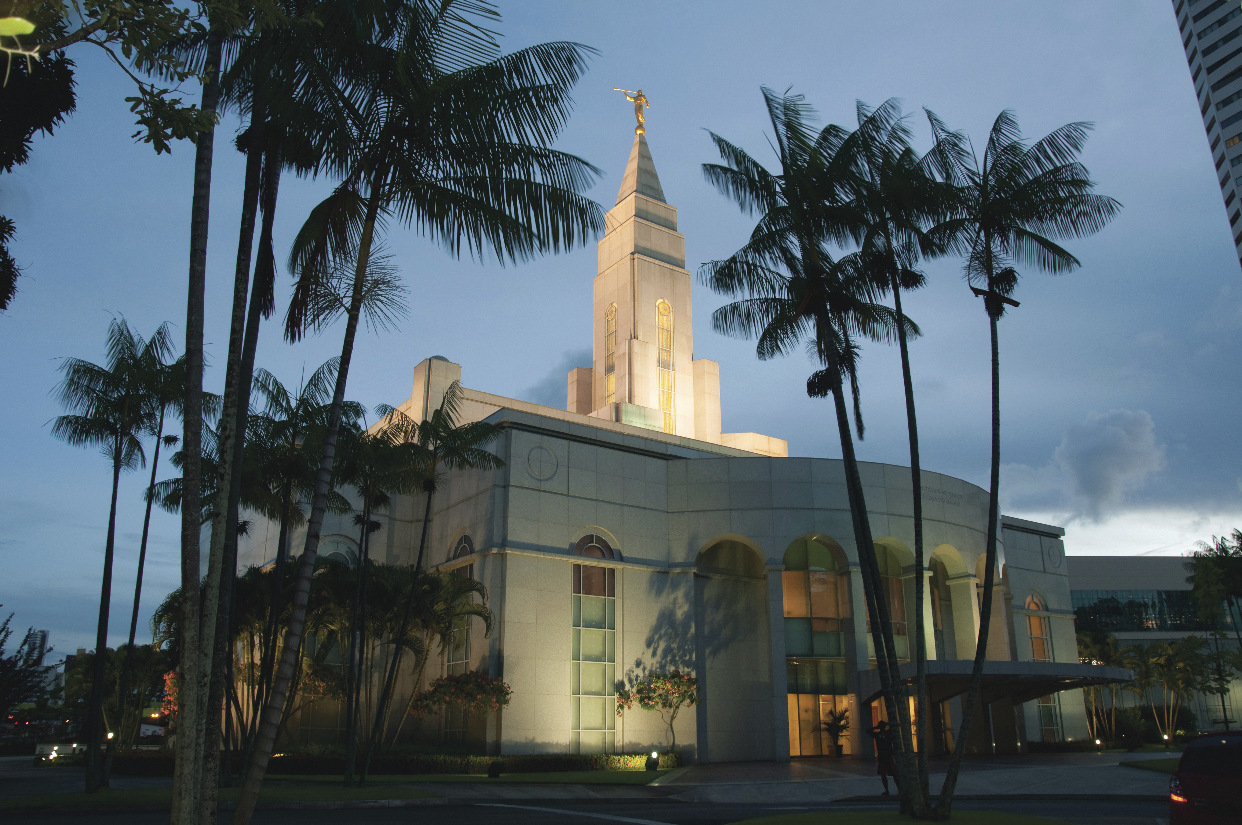 The Recife Brazil Temple in the evening, including the entrance and scenery.