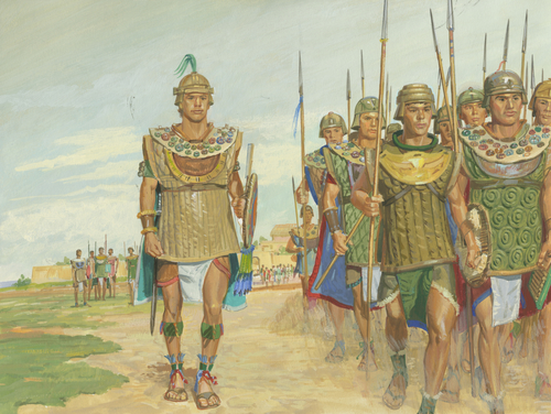 Moroni marching his army