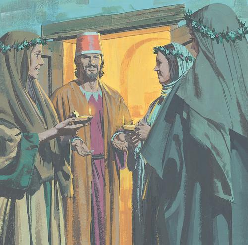 women standing with bridegroom