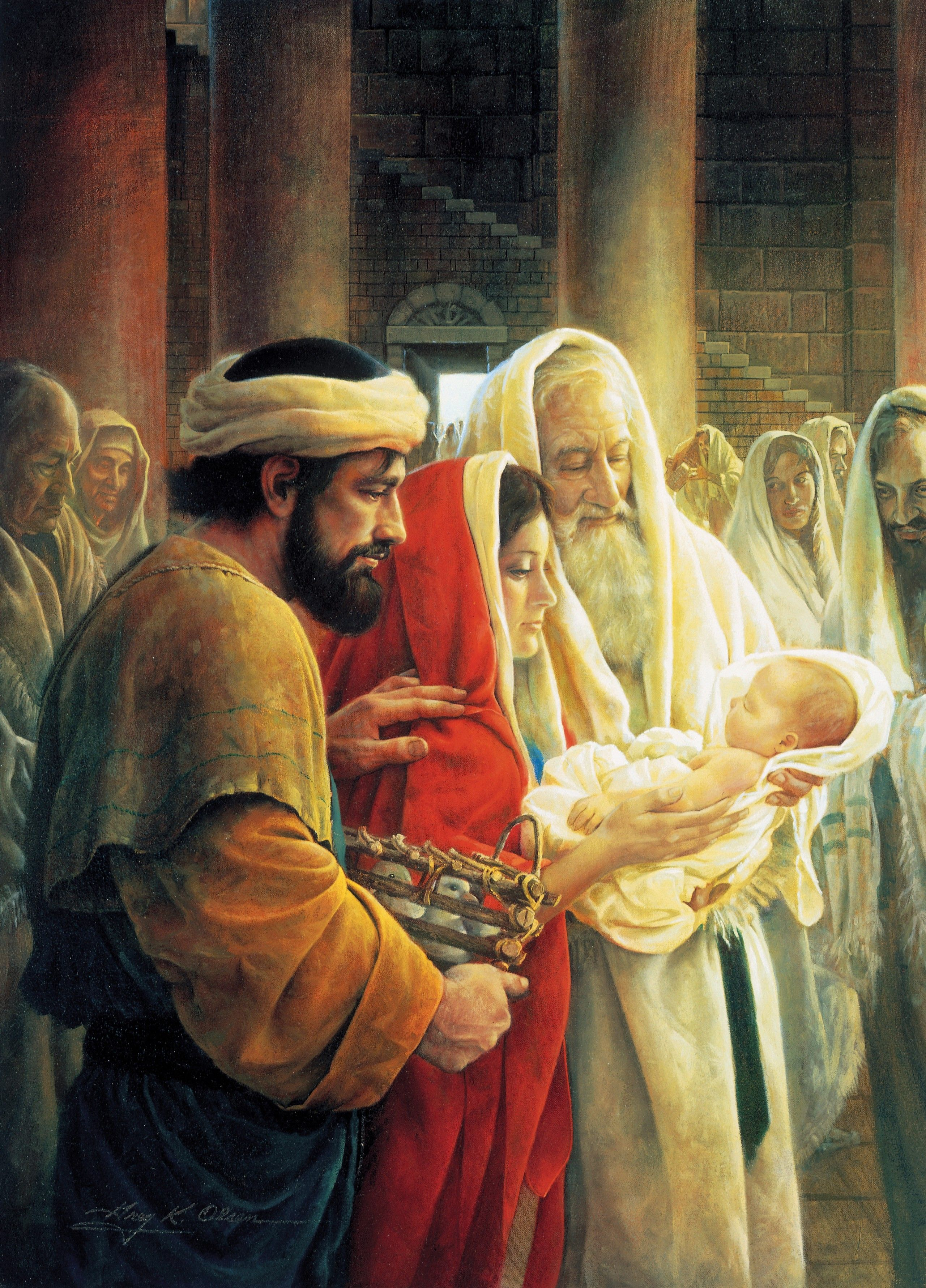 Simeon Reverencing the Christ Child, by Greg K. Olsen; GAB 32; Luke 2:22–39