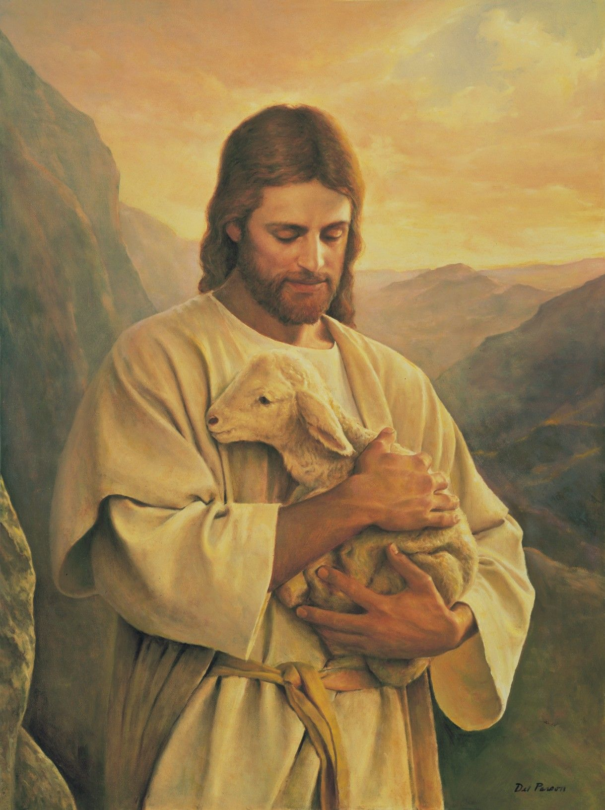 The Lost Lamb, by Del Parson; GAB 64; Luke 15:4–7; John 10:11–16; Alma 5:37–42 This image is to be used for Church purposes only.