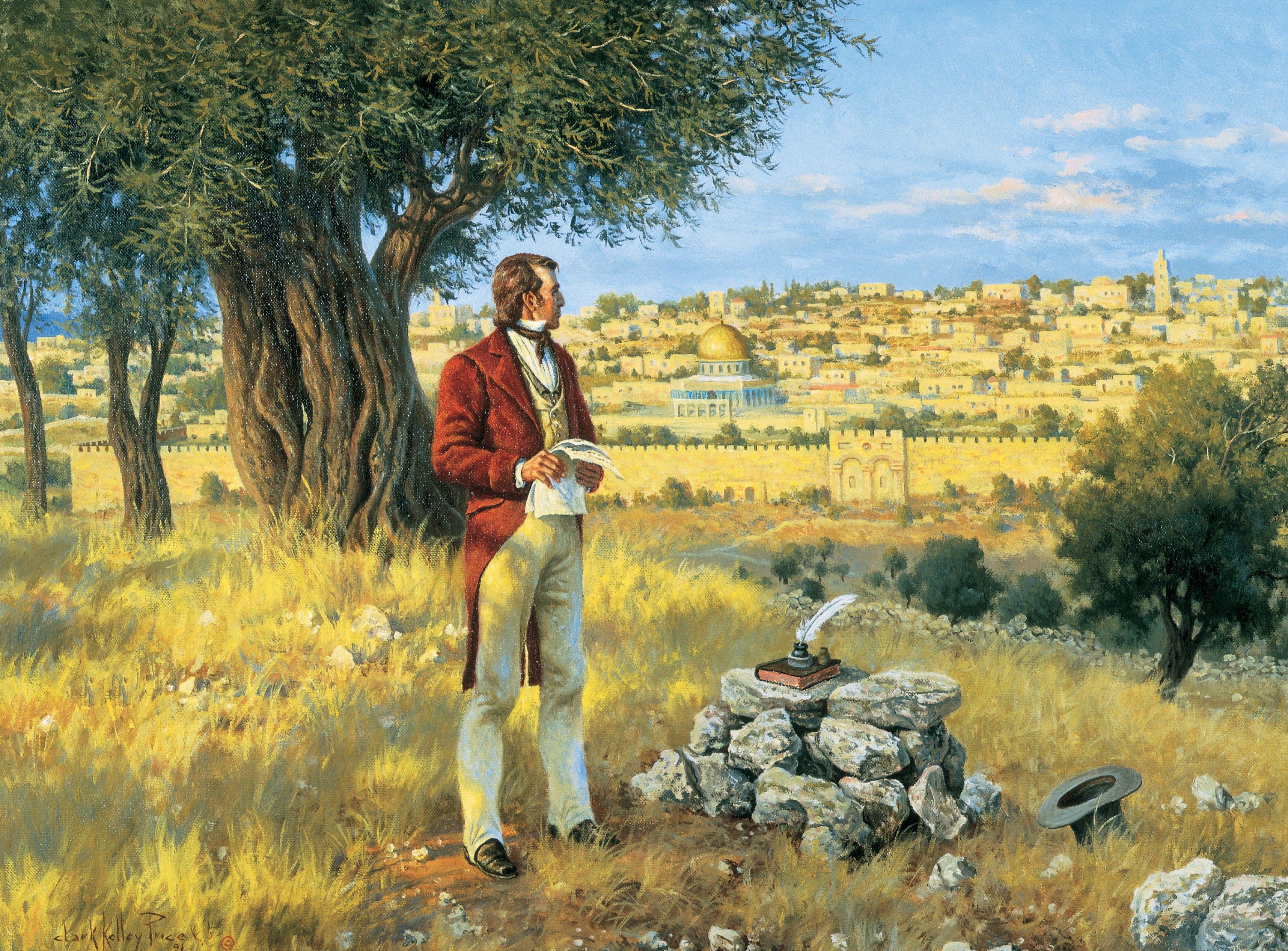Apostle Orson Hyde Dedicates the Holy Land, by Clark Kelley Price; GAK 419; 3 Nephi 5:24