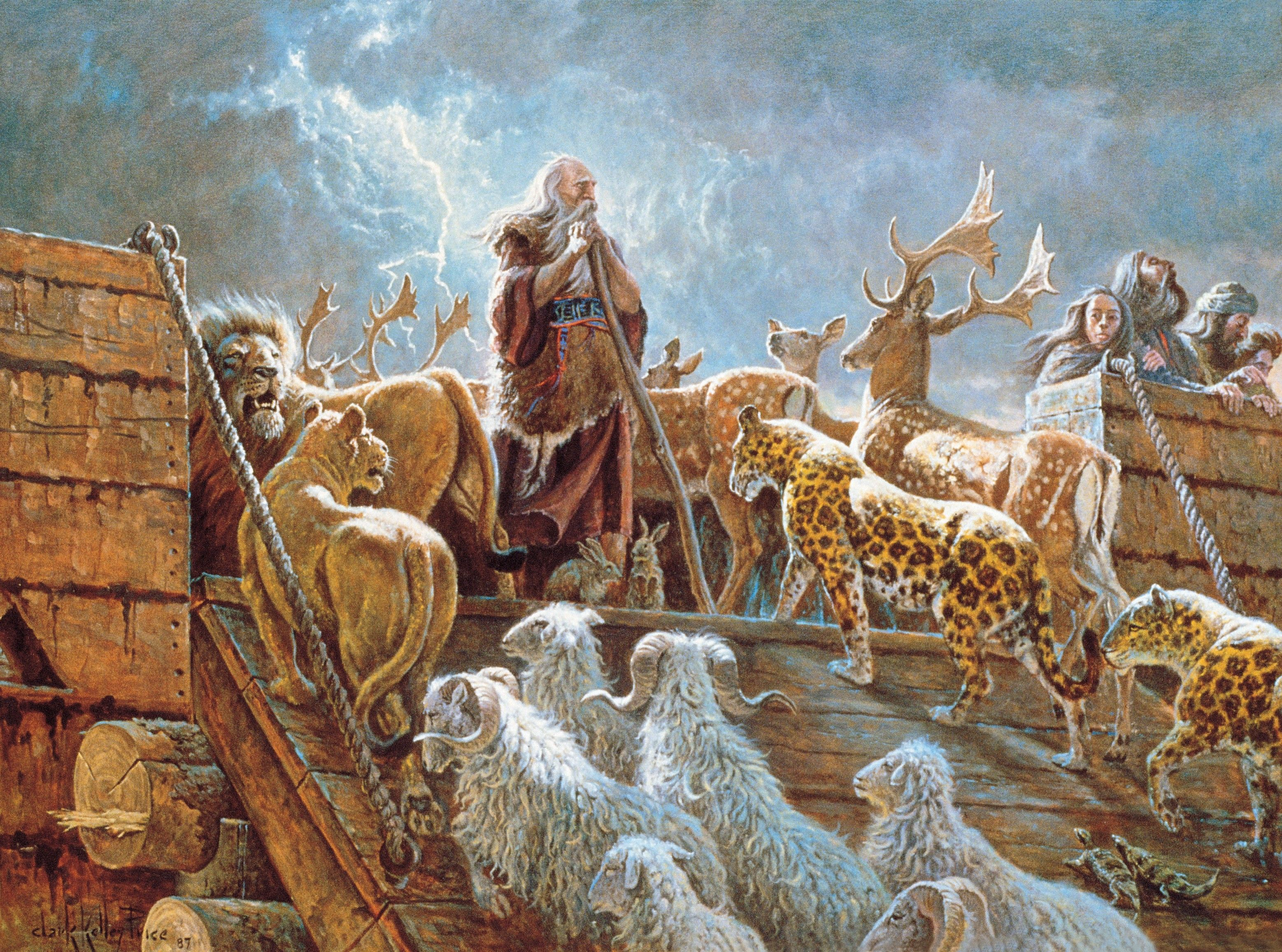 Noah and the Ark with Animals (The Lord Fulfilleth All His Words), by Clark Kelley Price; GAK 103; GAB 8; Primary manual 1-30; Primary manual 2-72; Primary manual 6-08; Genesis 6:12–22; 7:2–23; 8