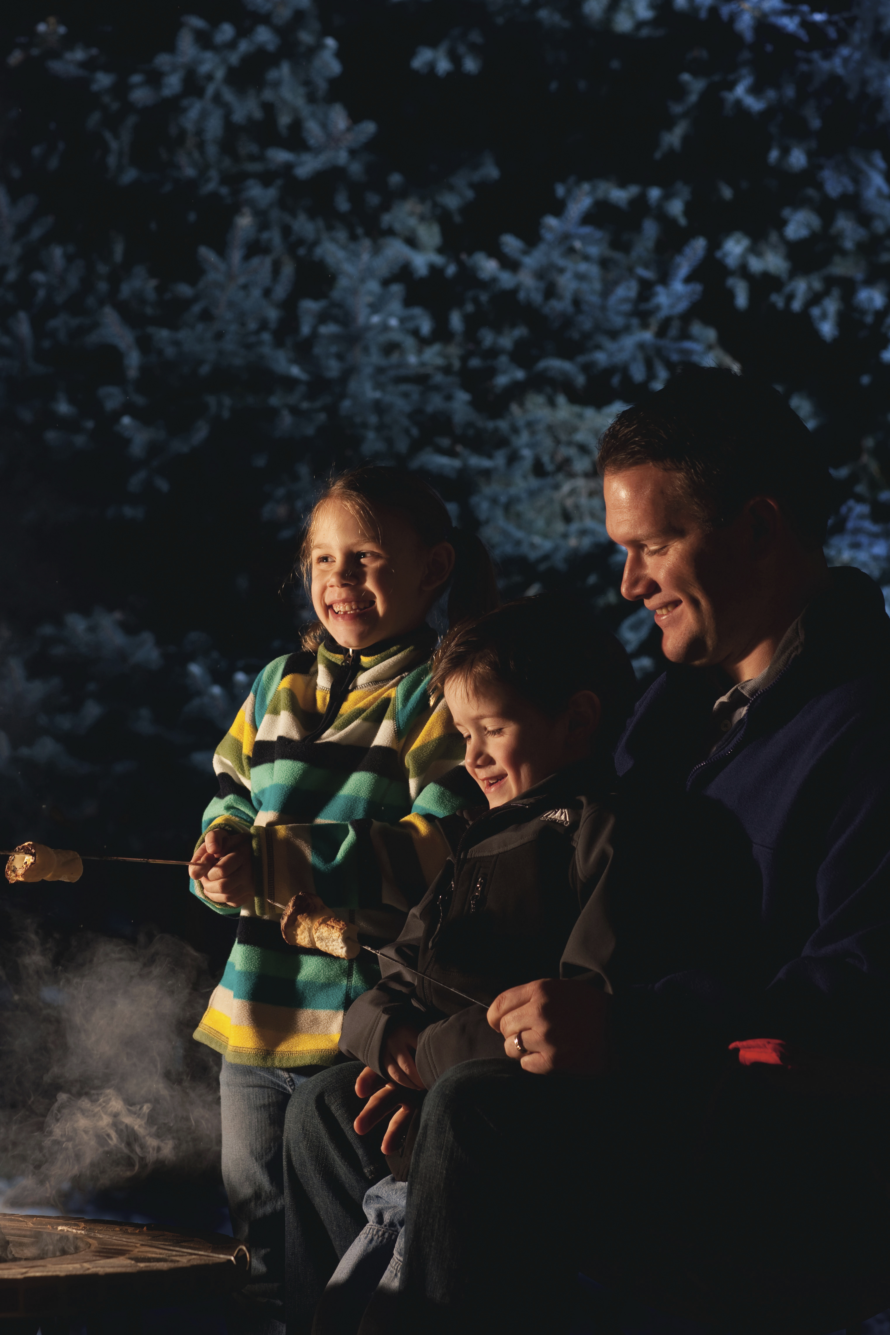 A father roasting marshmallows with his two young children.