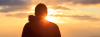 Silhouette of a man in the sunset