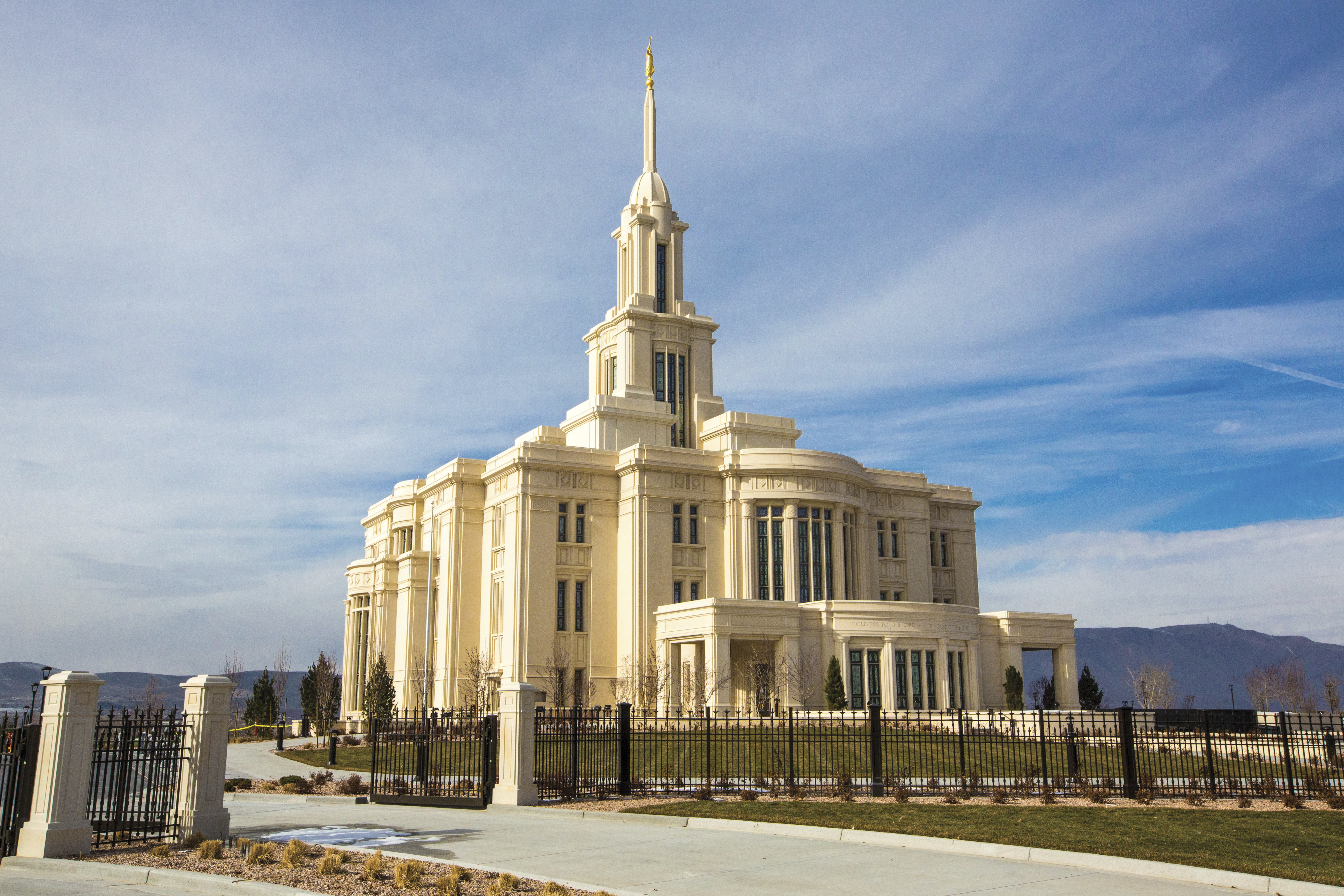 The east side of the Payson Utah Temple, its grounds, and its fence.