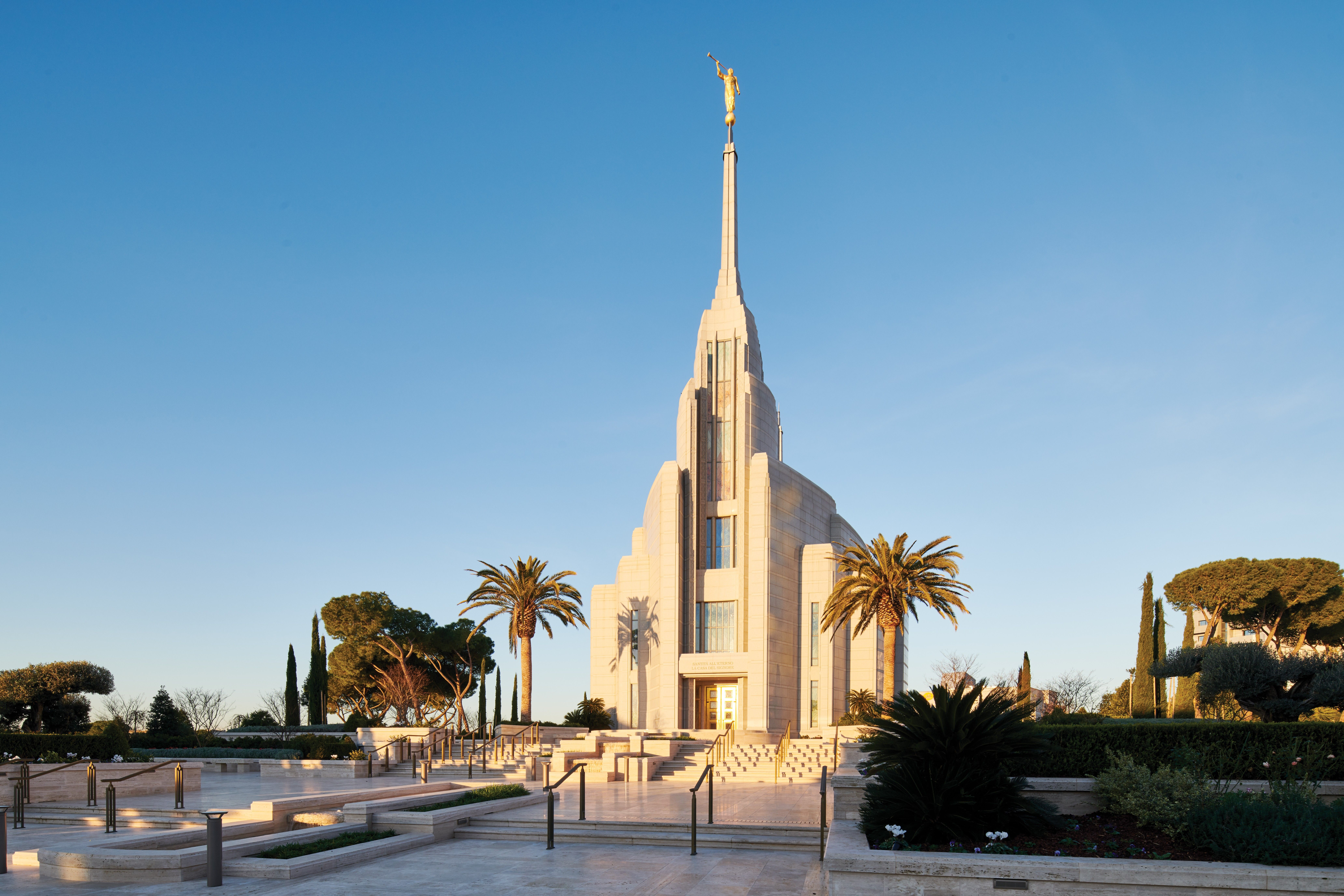 The Rome Italy Temple grounds during the day.