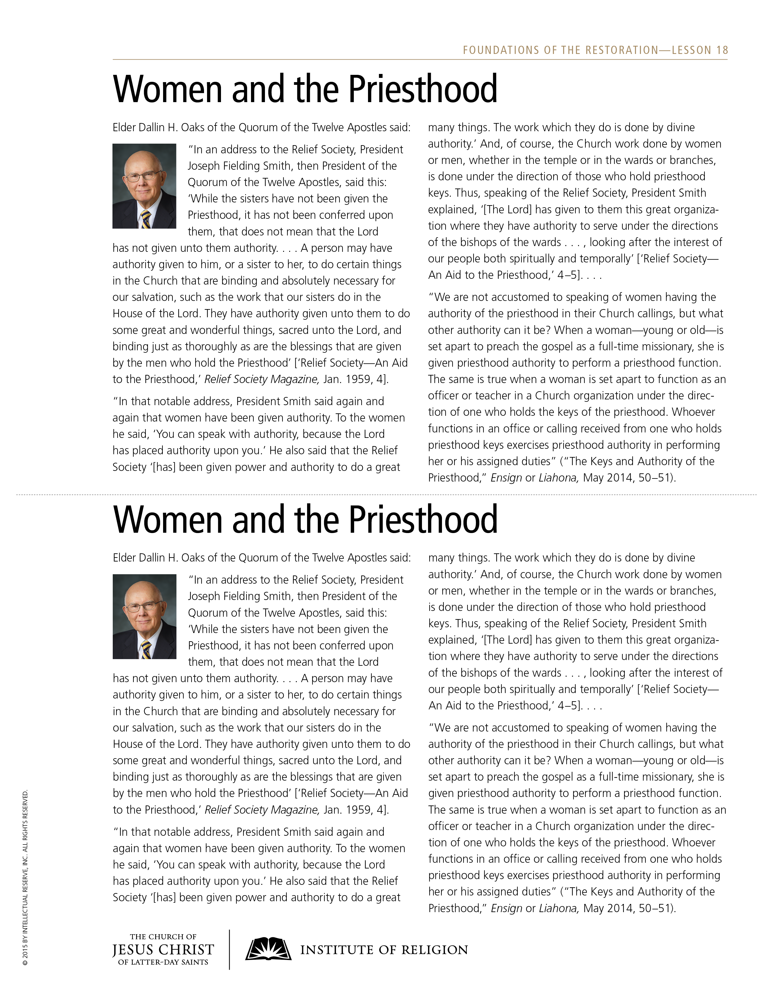 handout, Women and the Priesthood