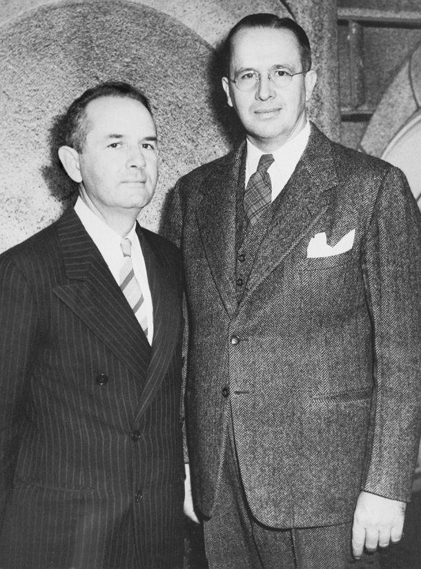 Ezra Taft Benson standing beside Spencer W. Kimball in October 1943.