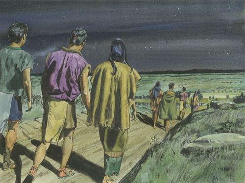 people walking at night