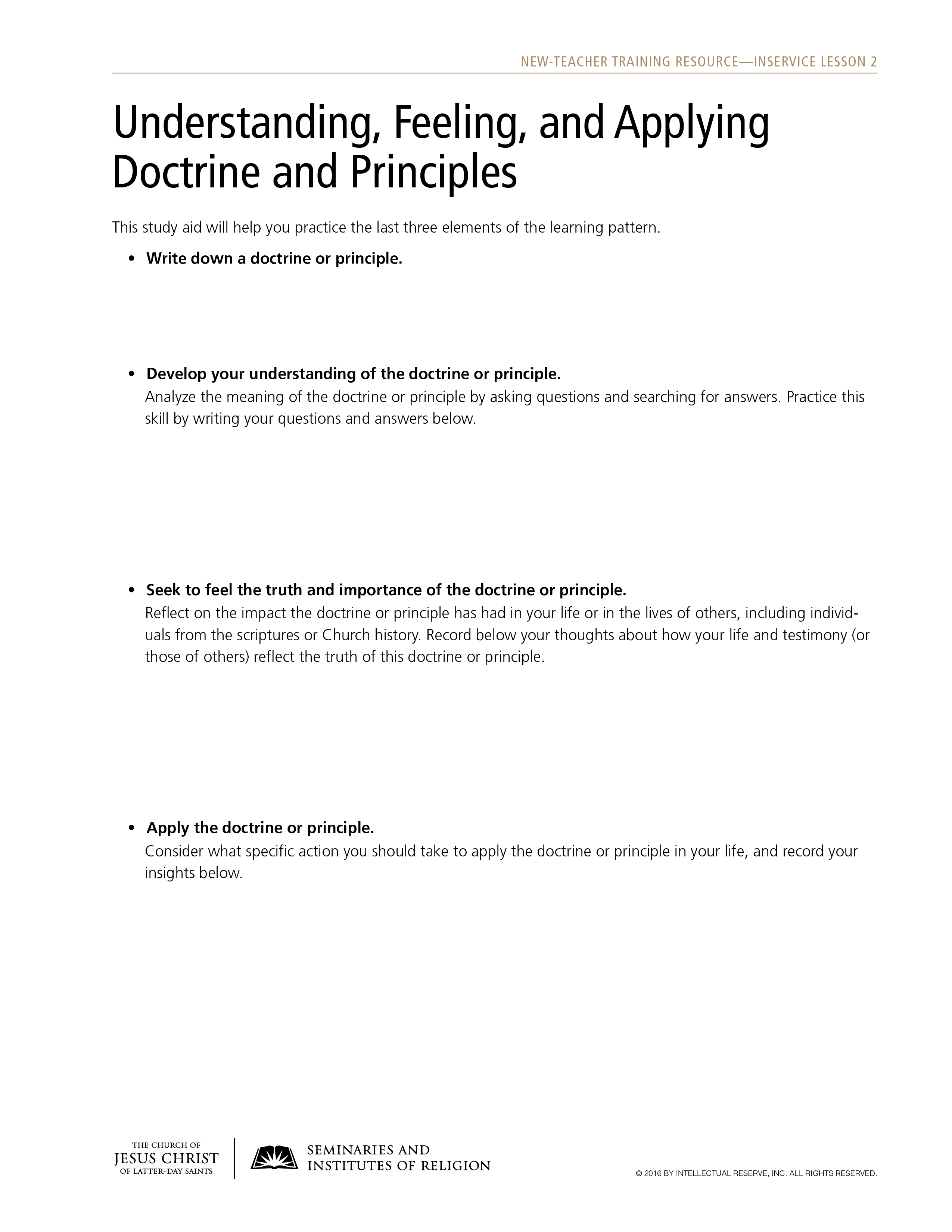 handout, Understanding, Feeling, and Applying Doctrine and Principles