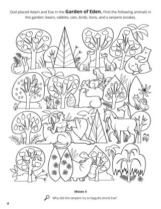 Adam and Eve in the Garden of Eden coloring page