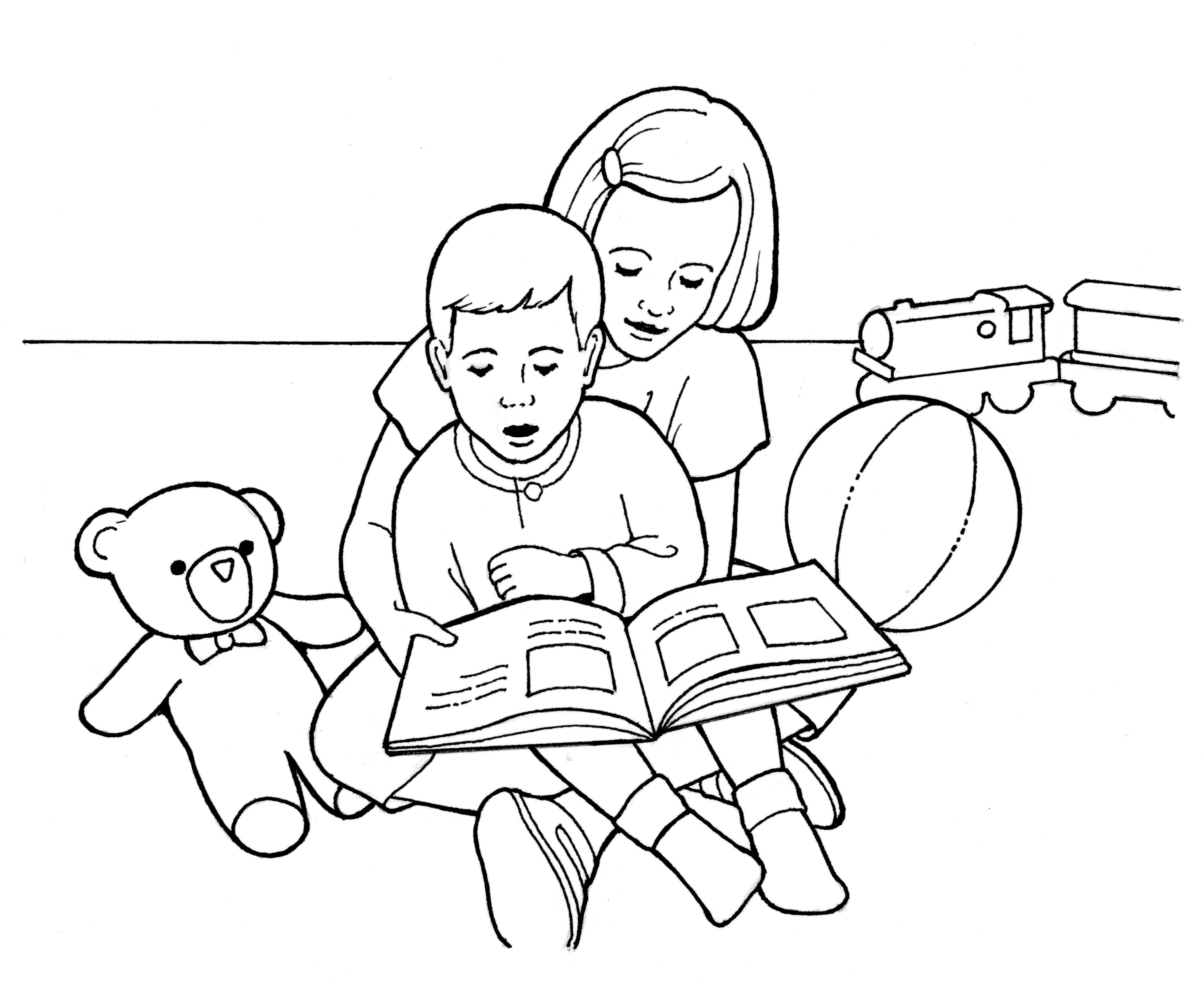 A line drawing of children reading together.