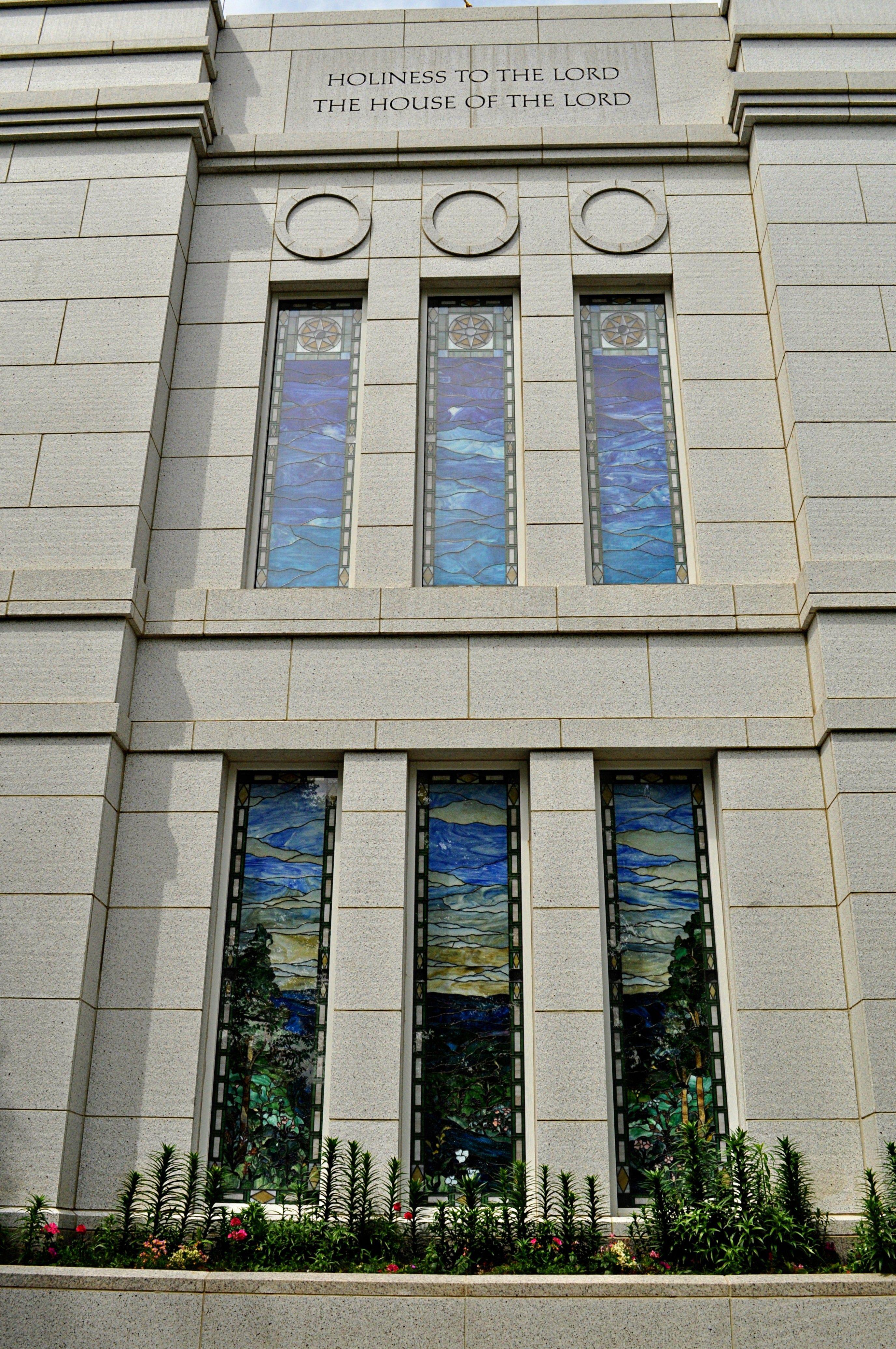 The Winter Quarters Nebraska Temple windows.