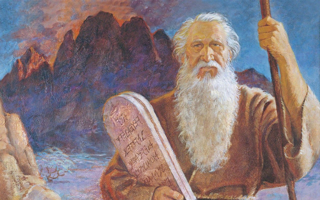 Moses gives the children of Israel the ten commandments