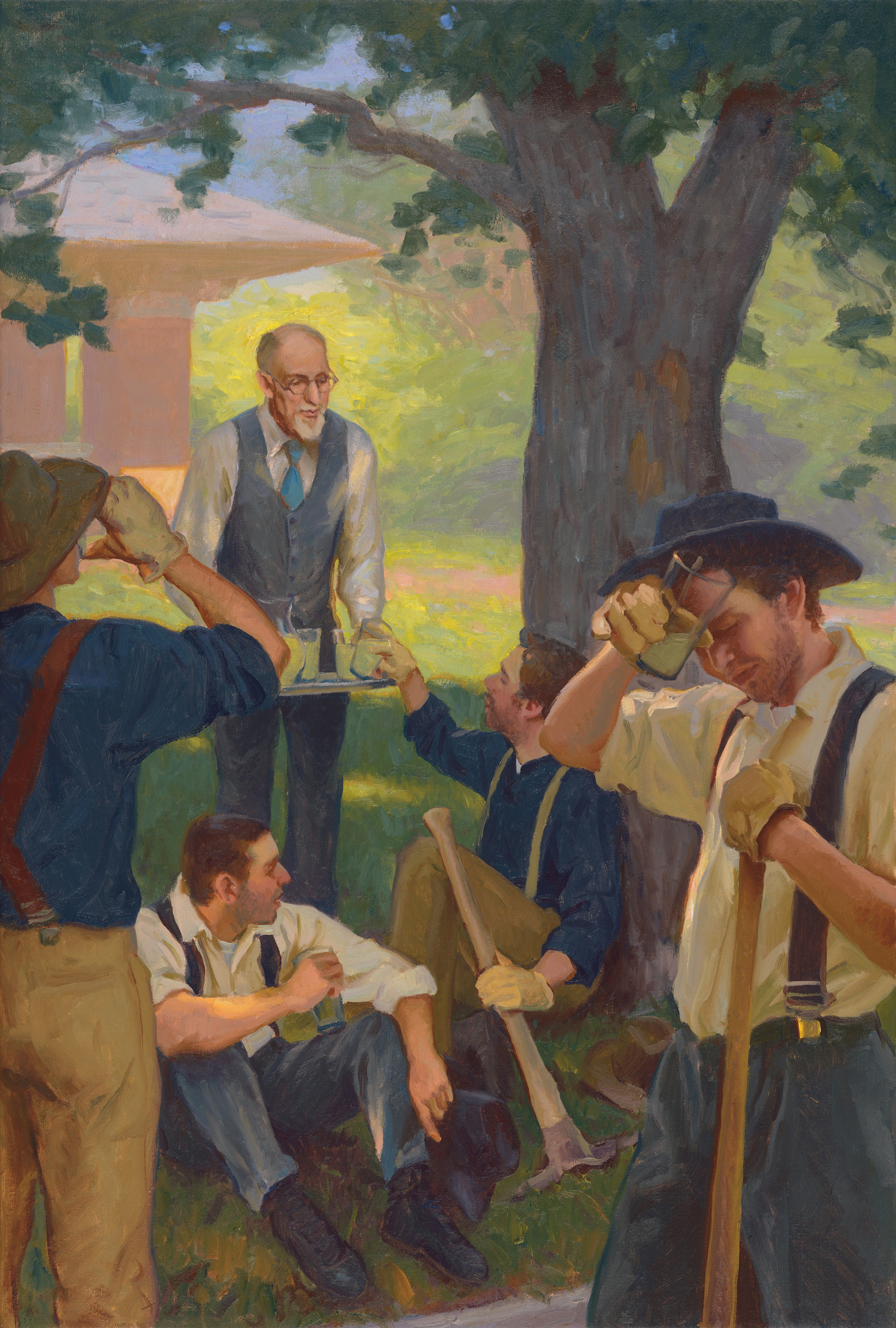 A depiction of President George Albert Smith serving lemonade to workers outside his home on a hot day. Teachings of Presidents of the Church: George Albert Smith (2011), 224