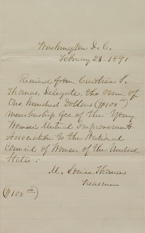 Receipt for payment of dues, February 28, 1891