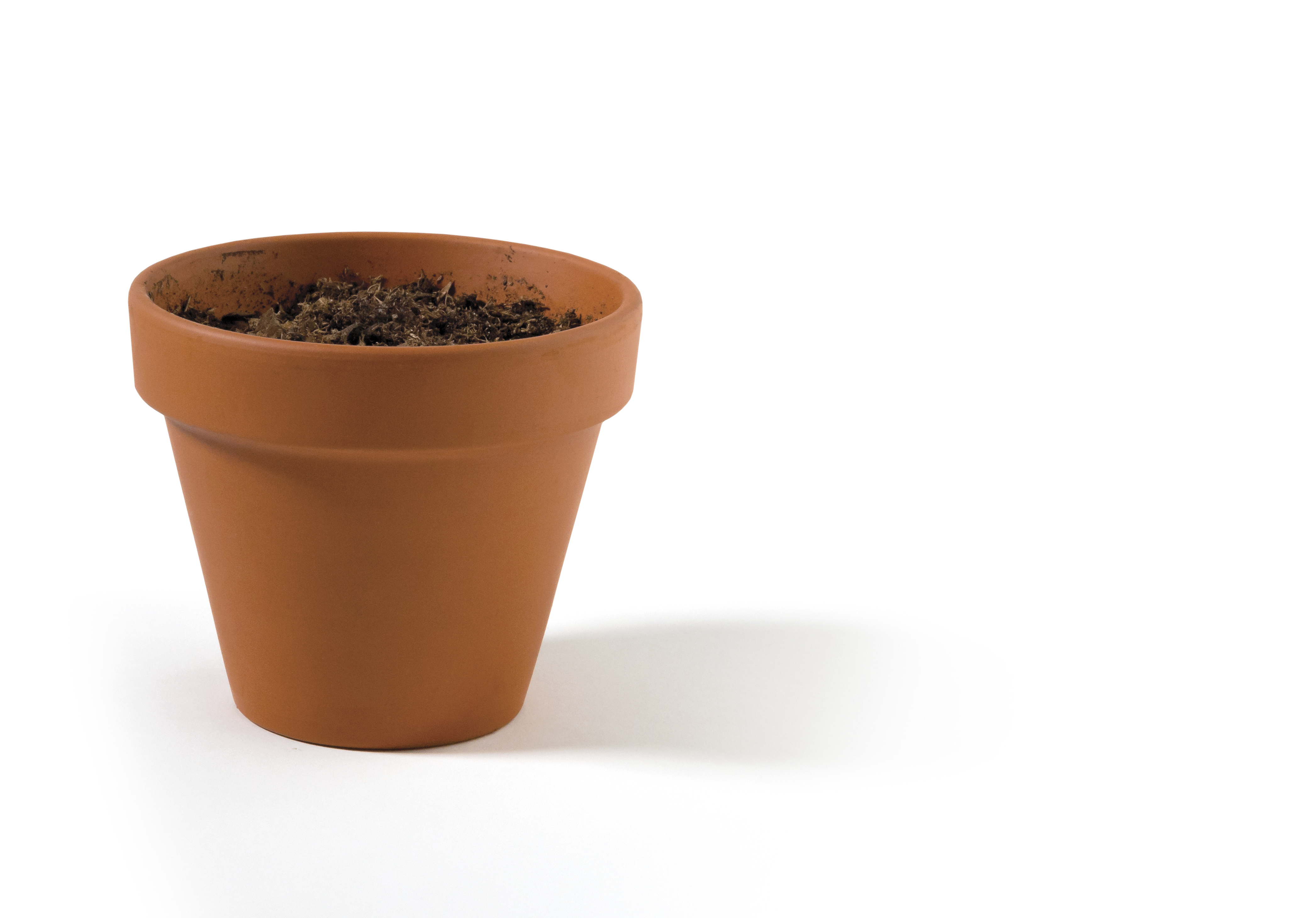 A small terra-cotta pot filled with dirt.