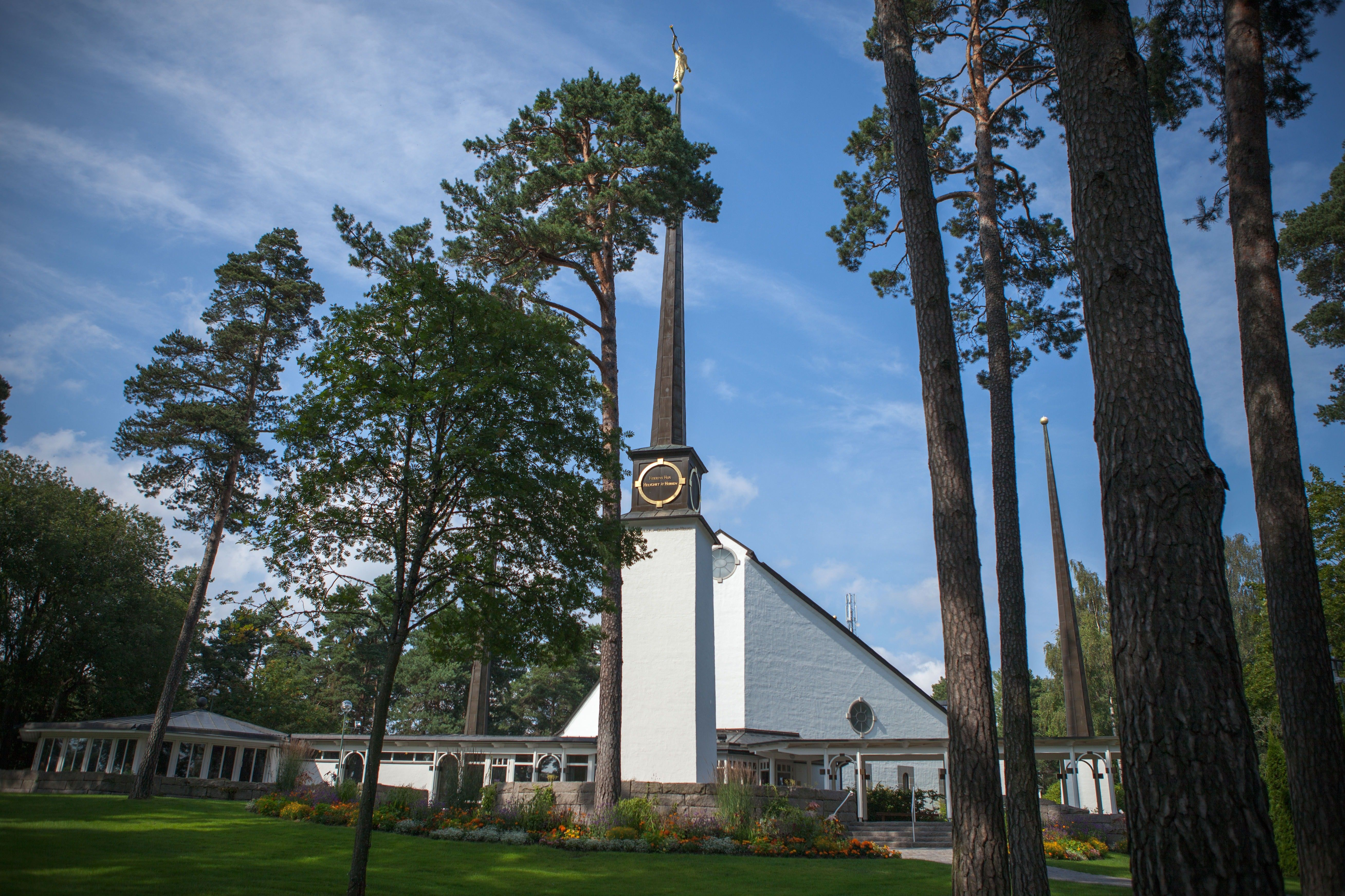 The Stockholm Sweden Temple, including the entrance and scenery.