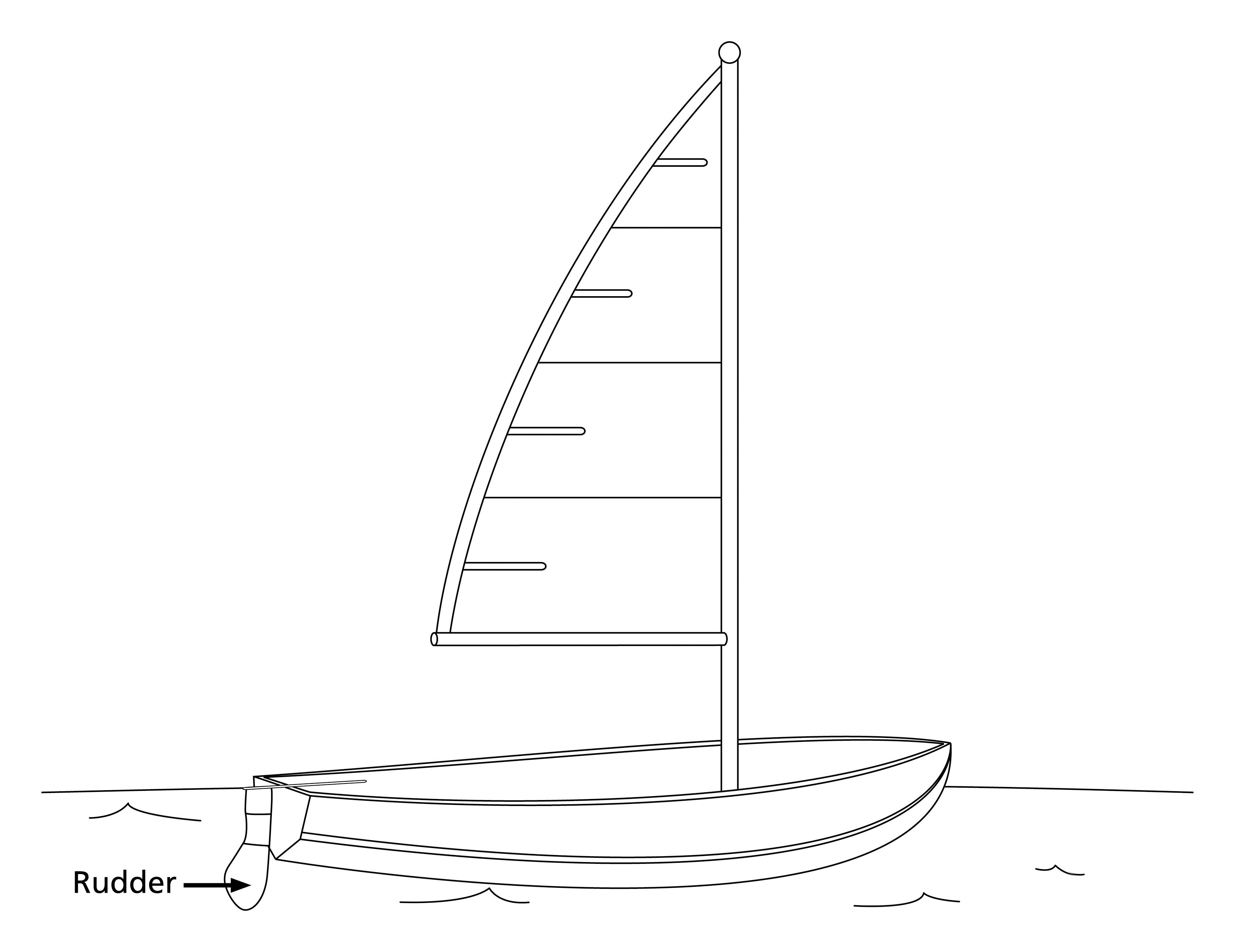 A drawing of a sailboat with the rudder showing.
