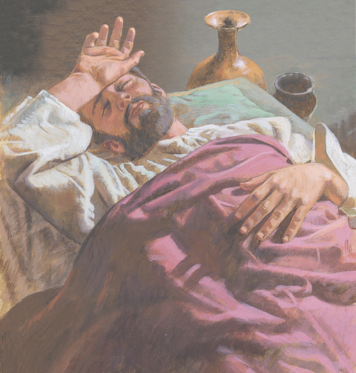 Lazarus lying sick in bed