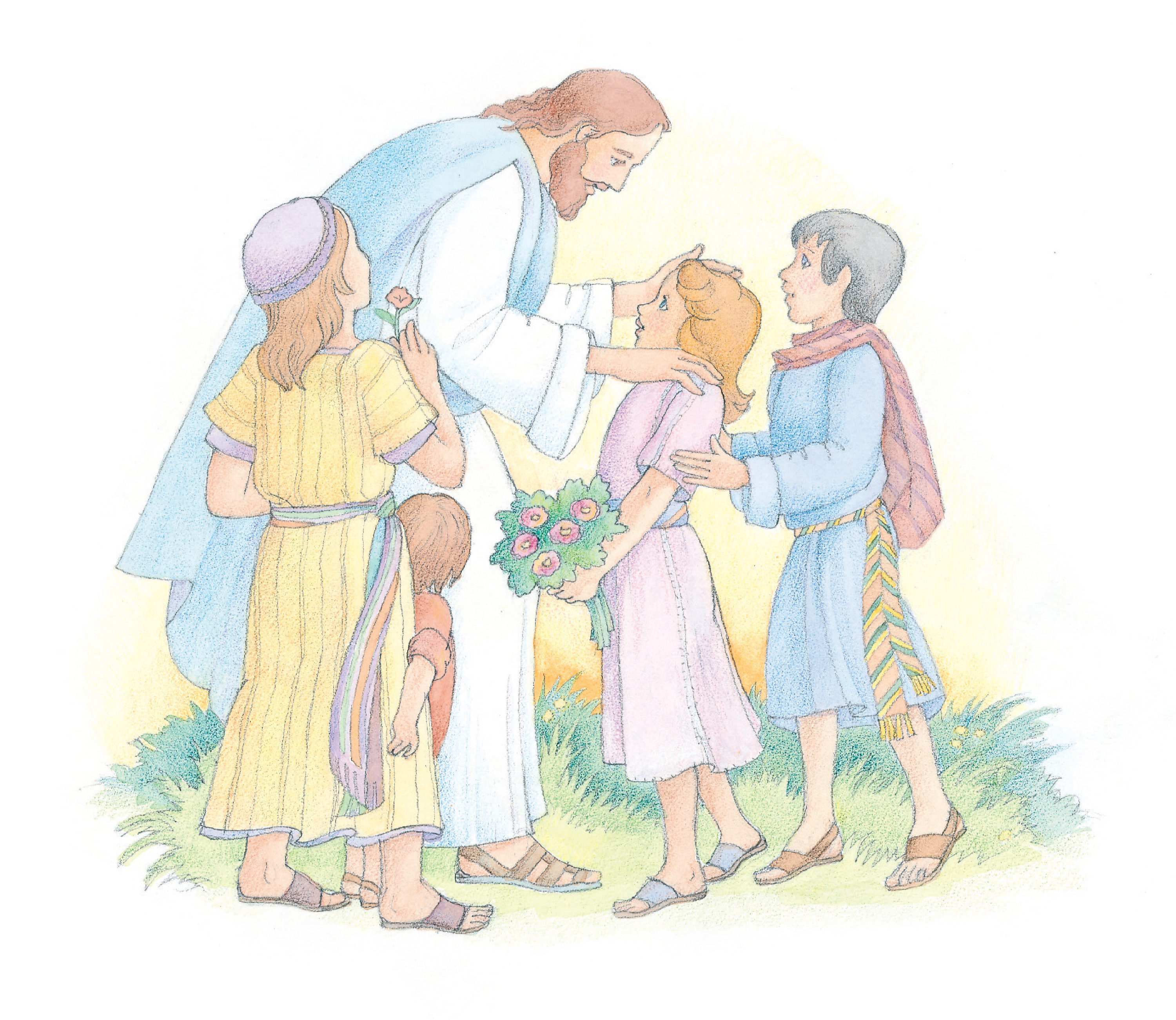 """Christ standing and interacting with four young children. From the Children's Songbook, page 80, """"Had I Been a Child""""; watercolor illustration by Phyllis Luch."""