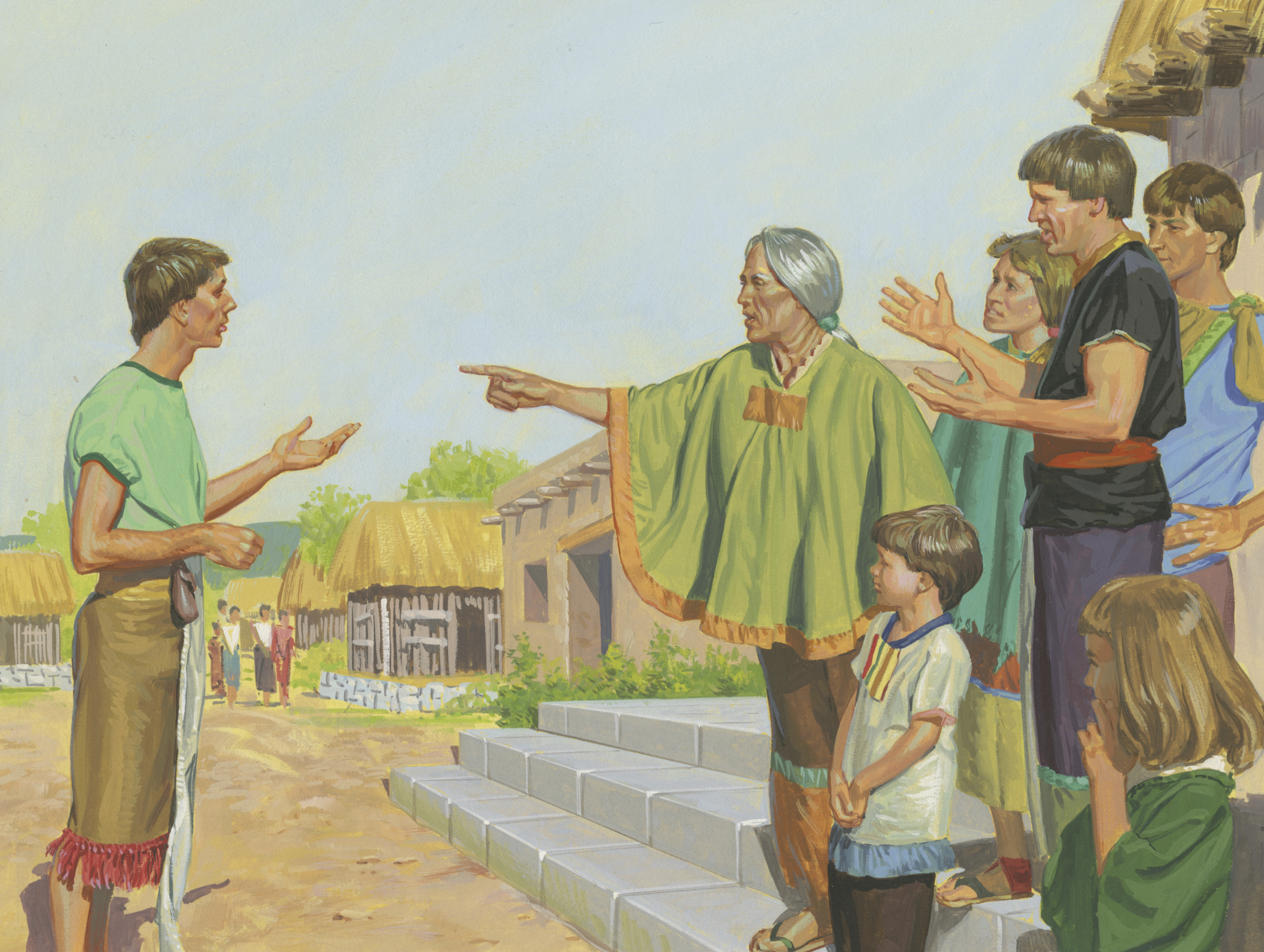 A painting by Jerry Thompson depicting Alma teaching the people of Ammonihah; Primary manual 4-27