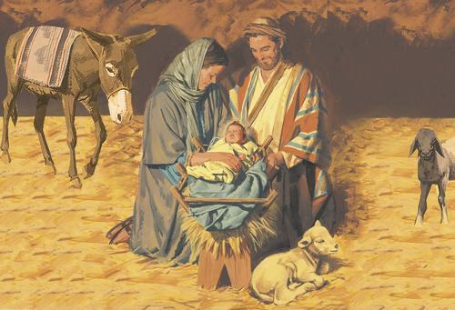 Joseph, Mary, and baby Jesus