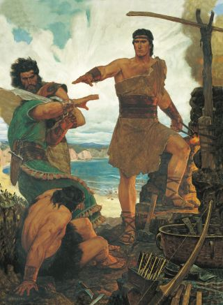 Nephi Rebuking His Rebellious Brothers, by Arnold Friberg
