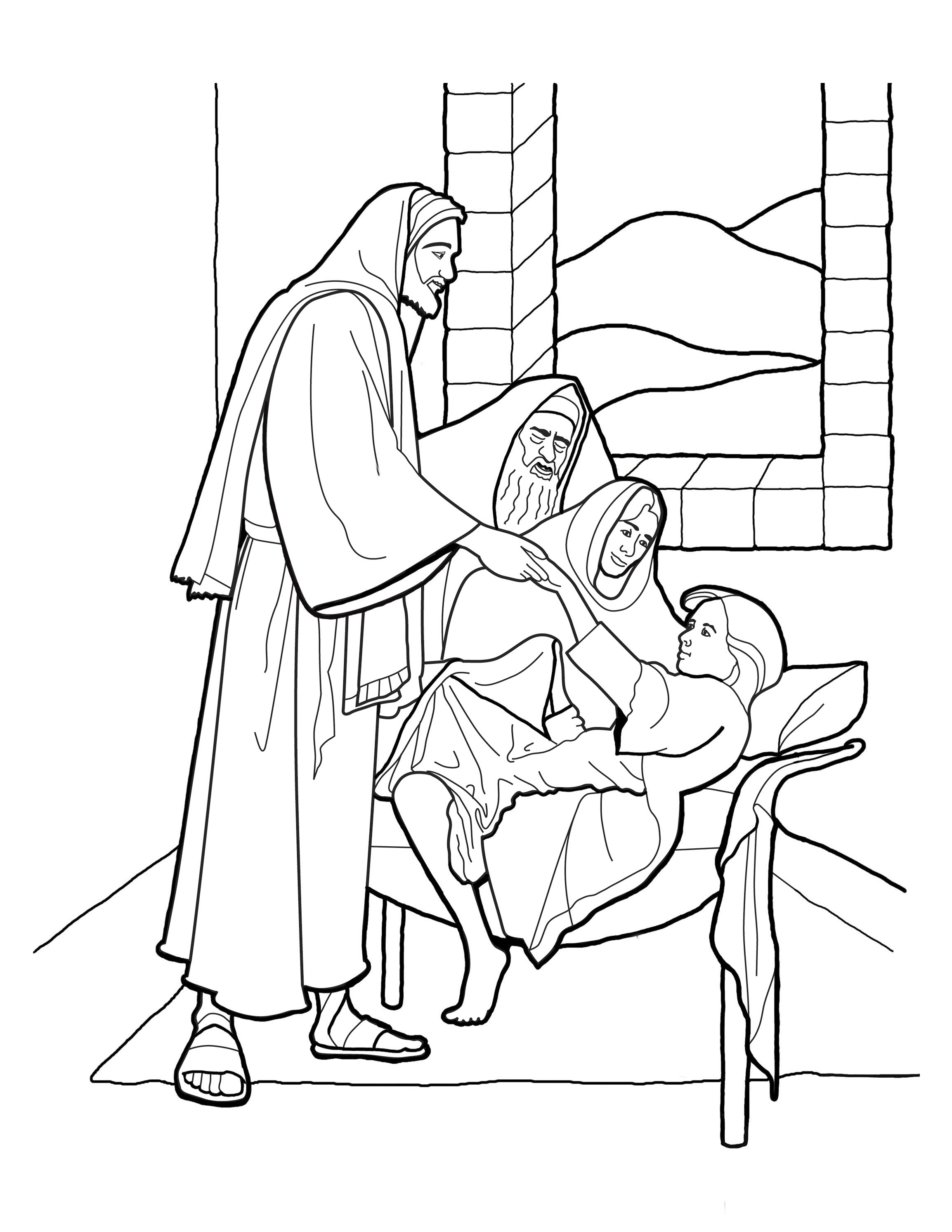 A sketch of Christ raising the daughter of Jairus, based on the painting by Greg Olsen.
